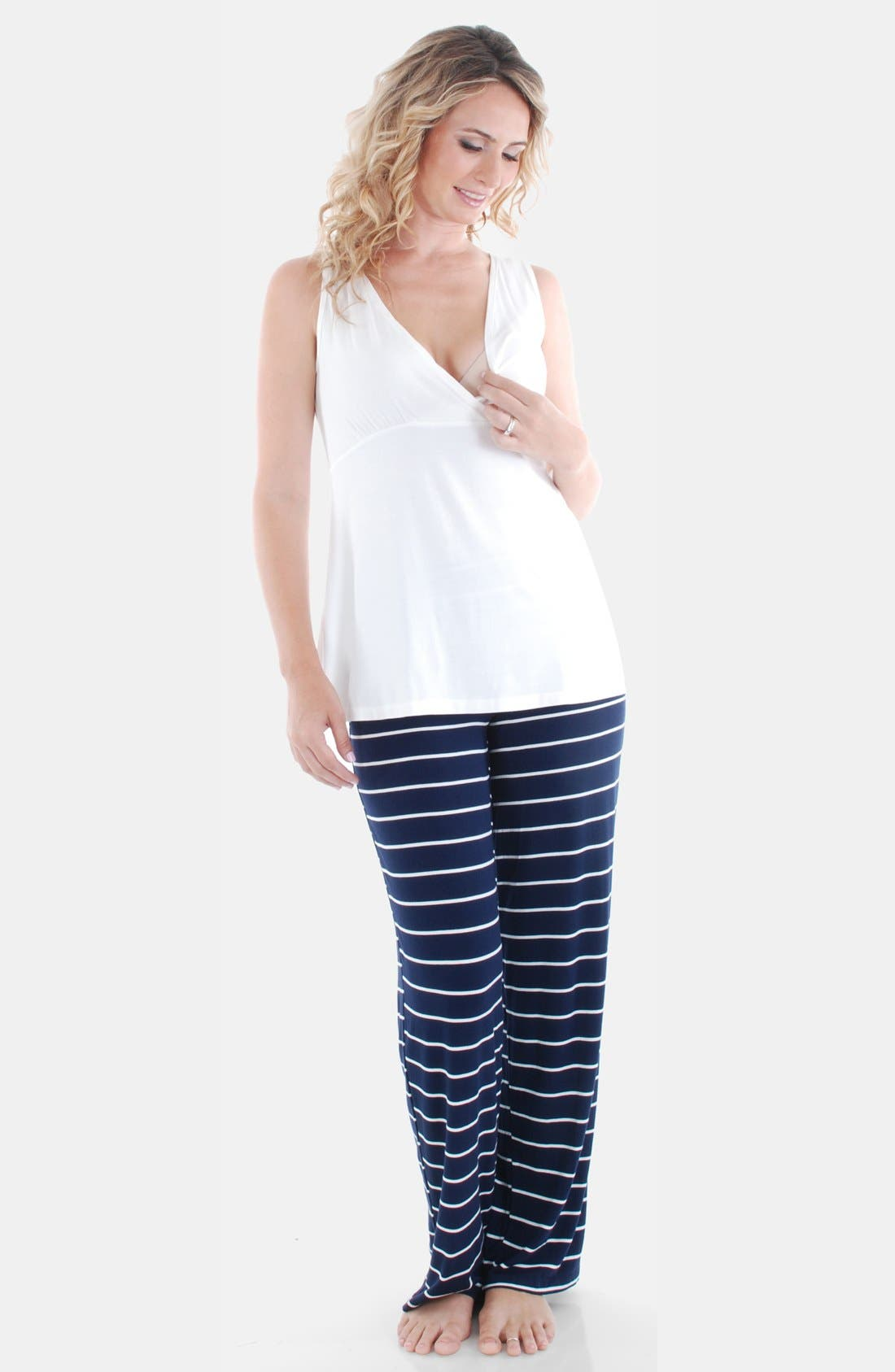 EVERLY GREY, Roxanne - During & After 5-Piece Maternity Sleepwear Set, Alternate thumbnail 5, color, NAVY