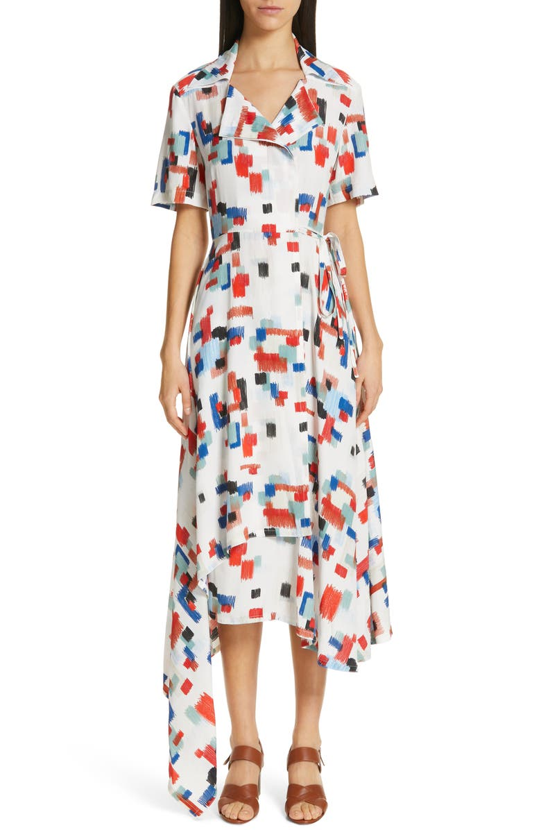 Rosetta Getty Dresses SCRIBBLE PRINT WRAP DRESS