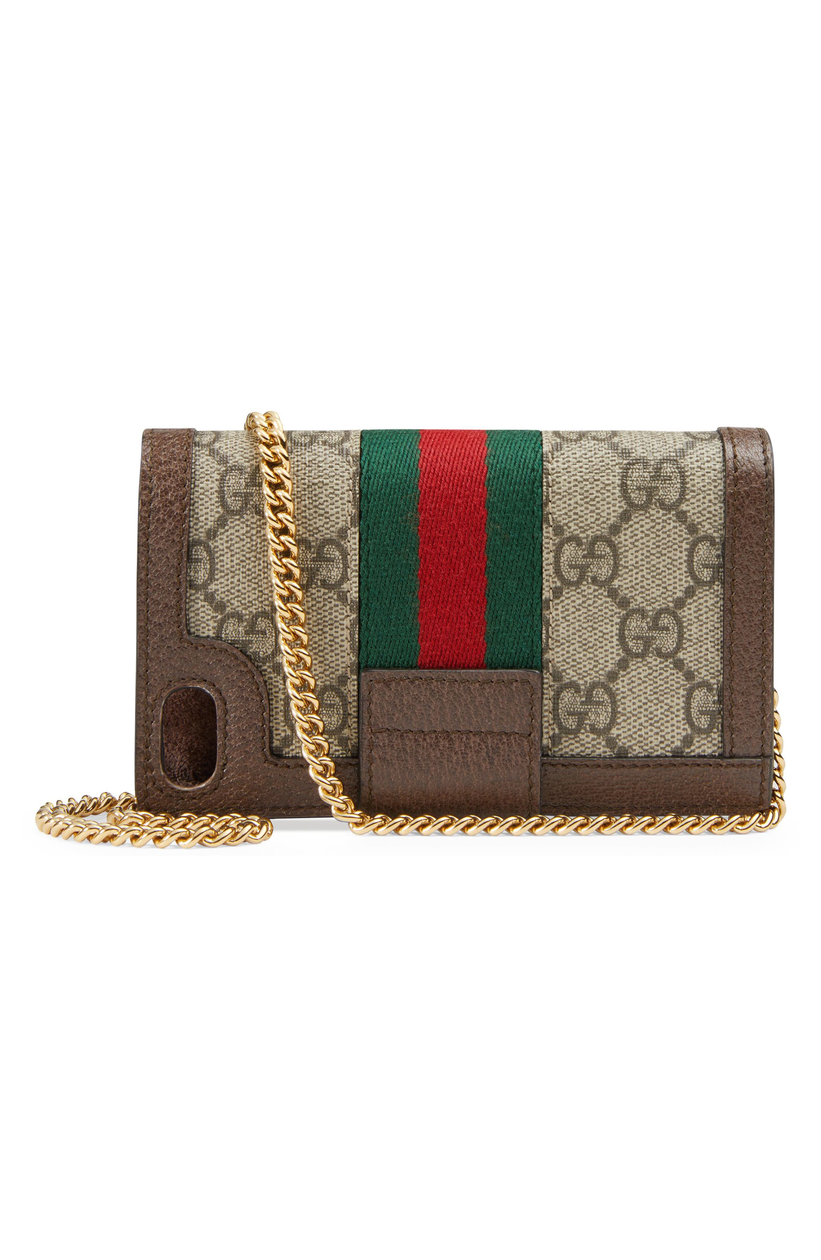 GUCCI, Ophidia GG Supreme iPhone 7/8 Case, Alternate thumbnail 3, color, BEIGE EBONY/ ACERO/ VERT RED