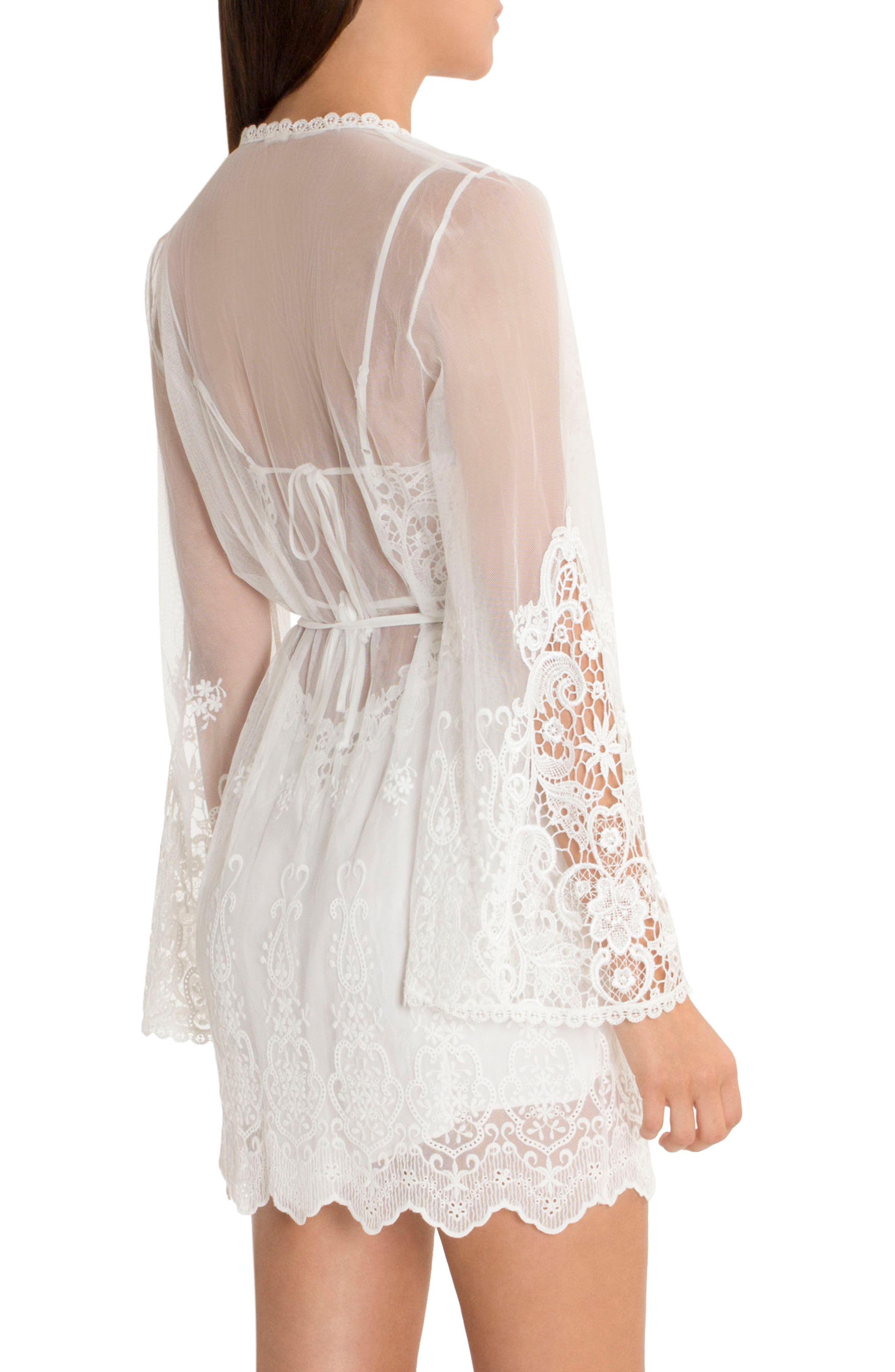IN BLOOM BY JONQUIL, Embroidered Mesh Wrap, Alternate thumbnail 2, color, IVORY