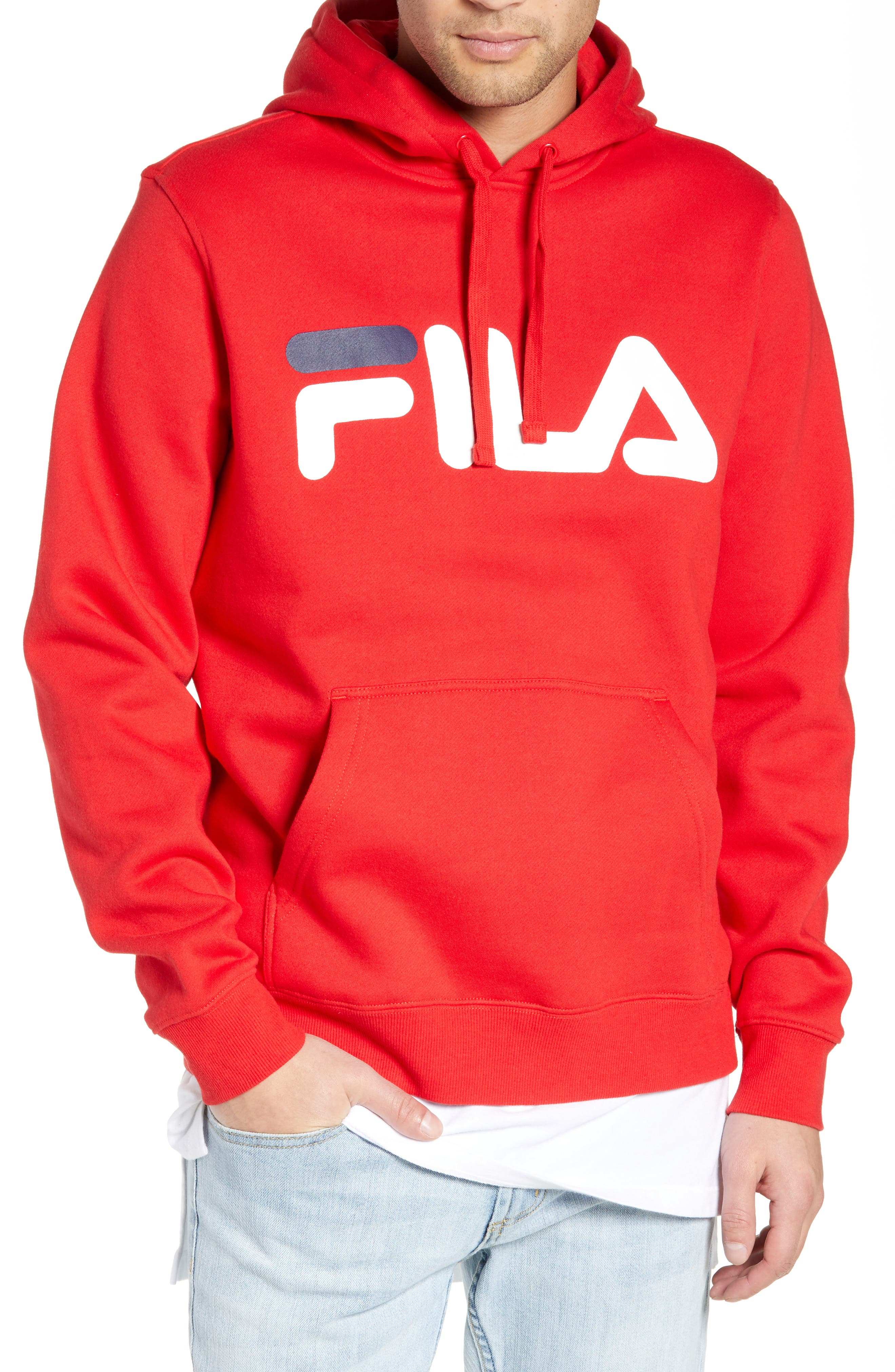 FILA, Logo Graphic Hooded Sweatshirt, Main thumbnail 1, color, CHINESE RED/ WHITE/ NAVY