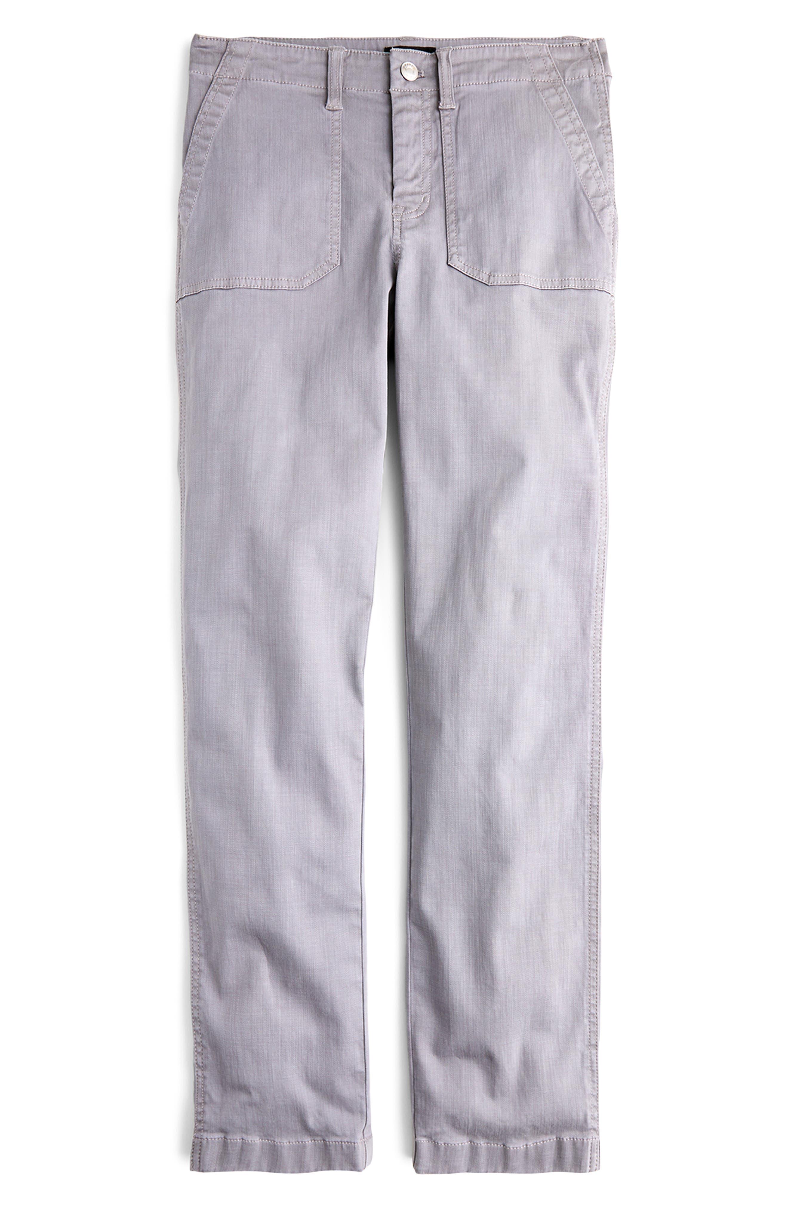 J.crew Slub Sateen Straight Leg Cargo Pants, Grey