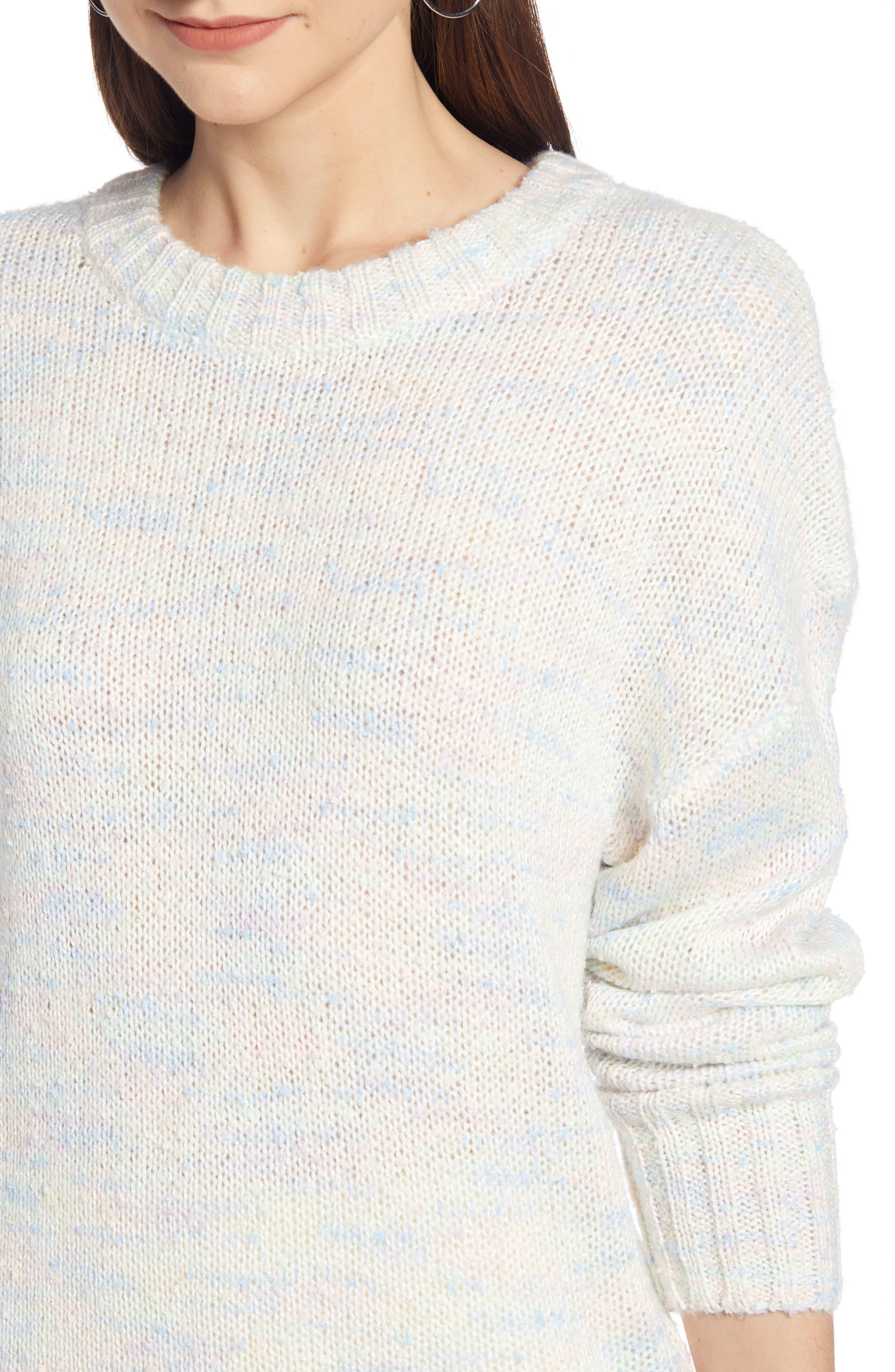 SOMETHING NAVY, Crewneck Sweater, Alternate thumbnail 5, color, IVORY COMBO