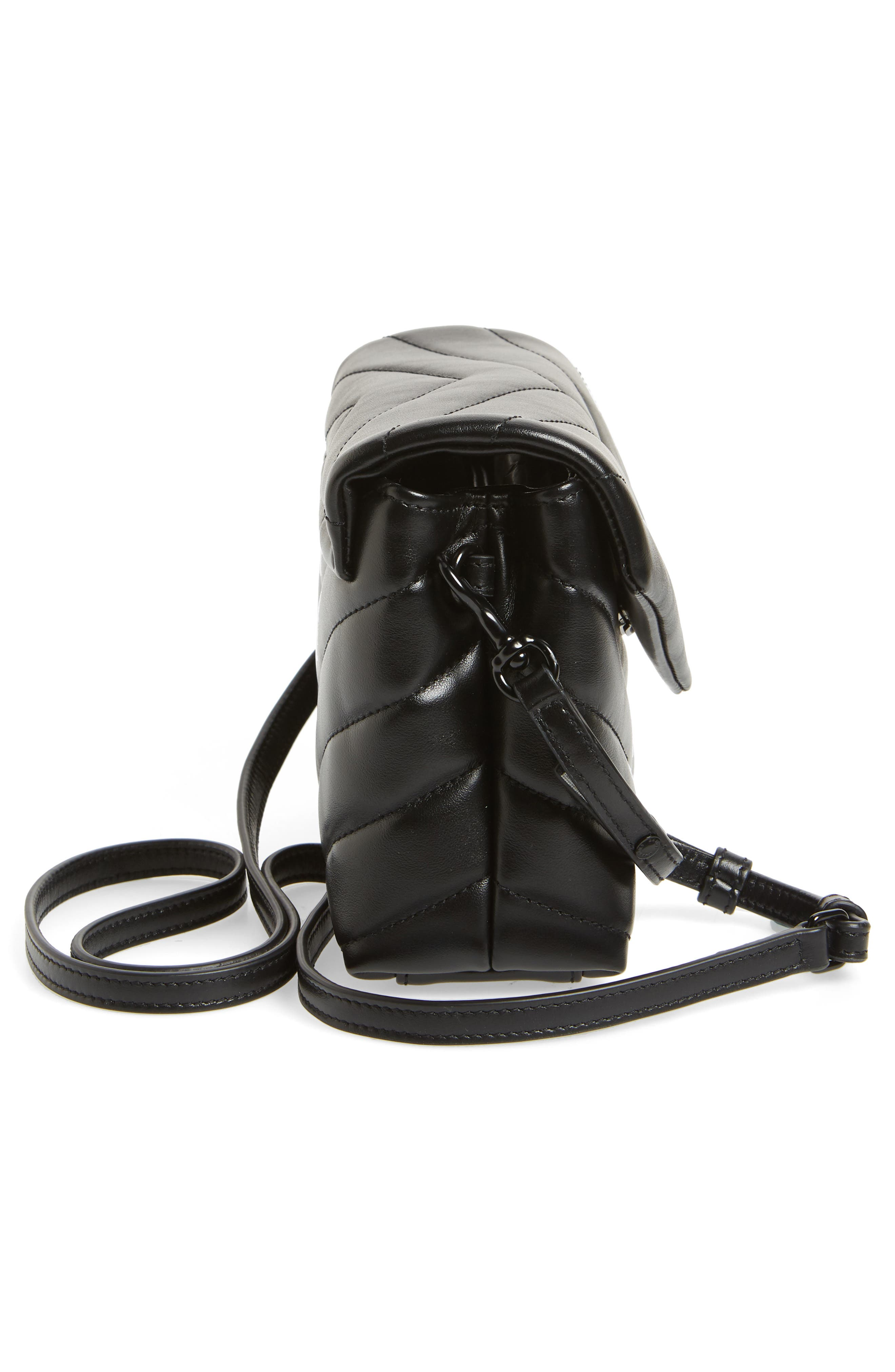SAINT LAURENT, Toy Loulou Leather Crossbody Bag, Alternate thumbnail 5, color, 001