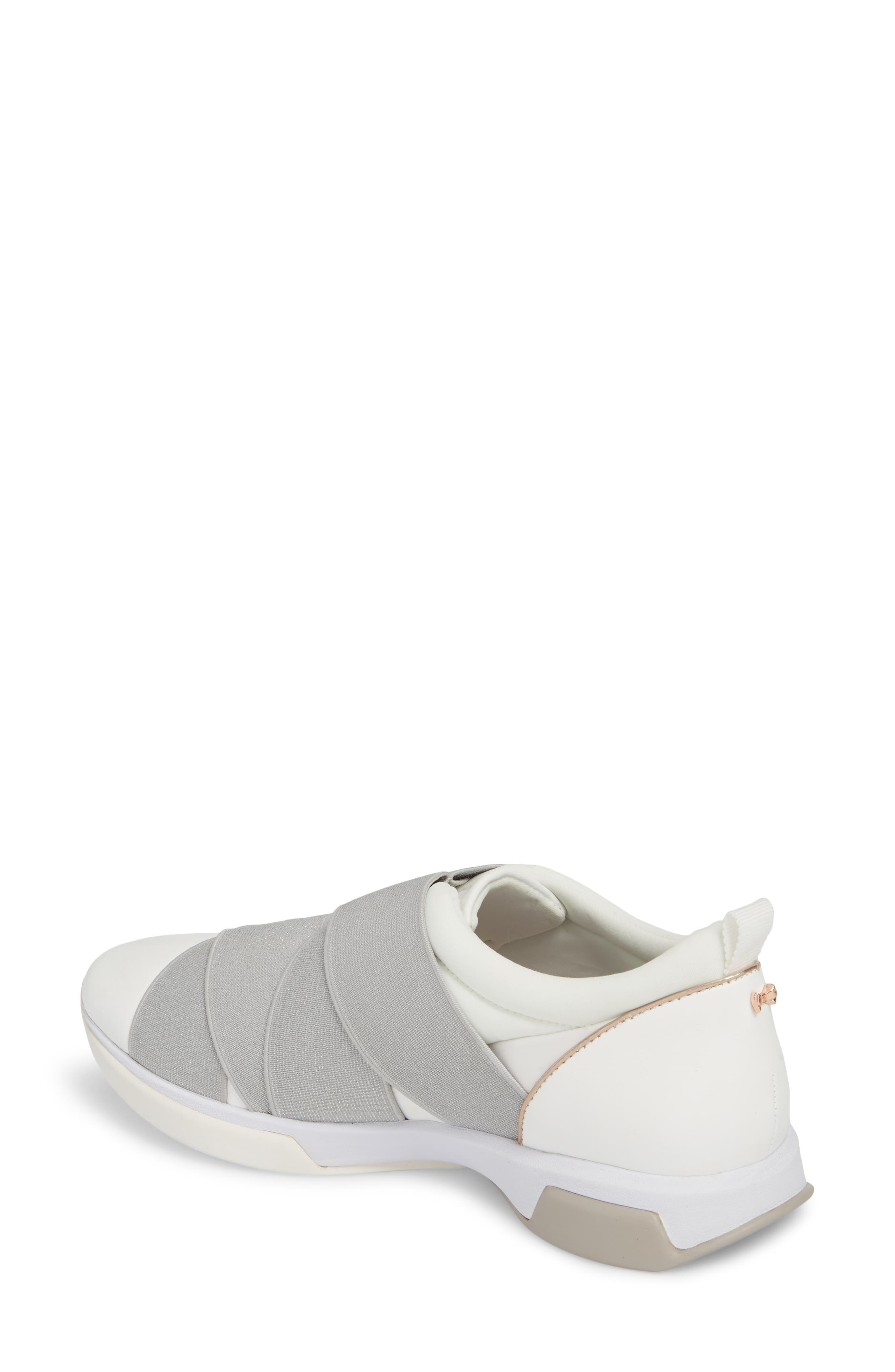 TED BAKER LONDON, Queane Sneaker, Alternate thumbnail 2, color, WHITE/ SILVER LEATHER