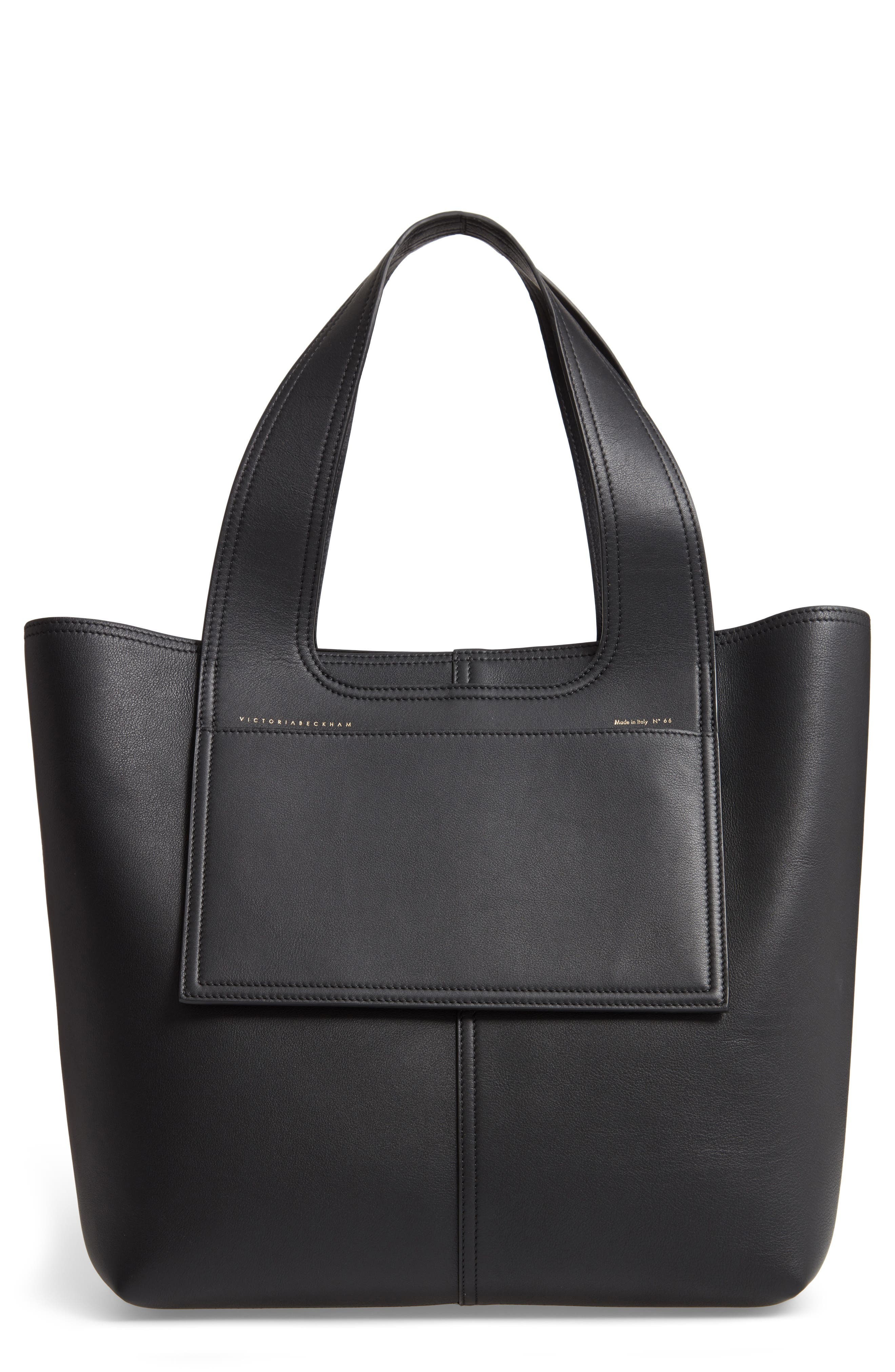 VICTORIA BECKHAM, Apron Leather Tote, Main thumbnail 1, color, 001