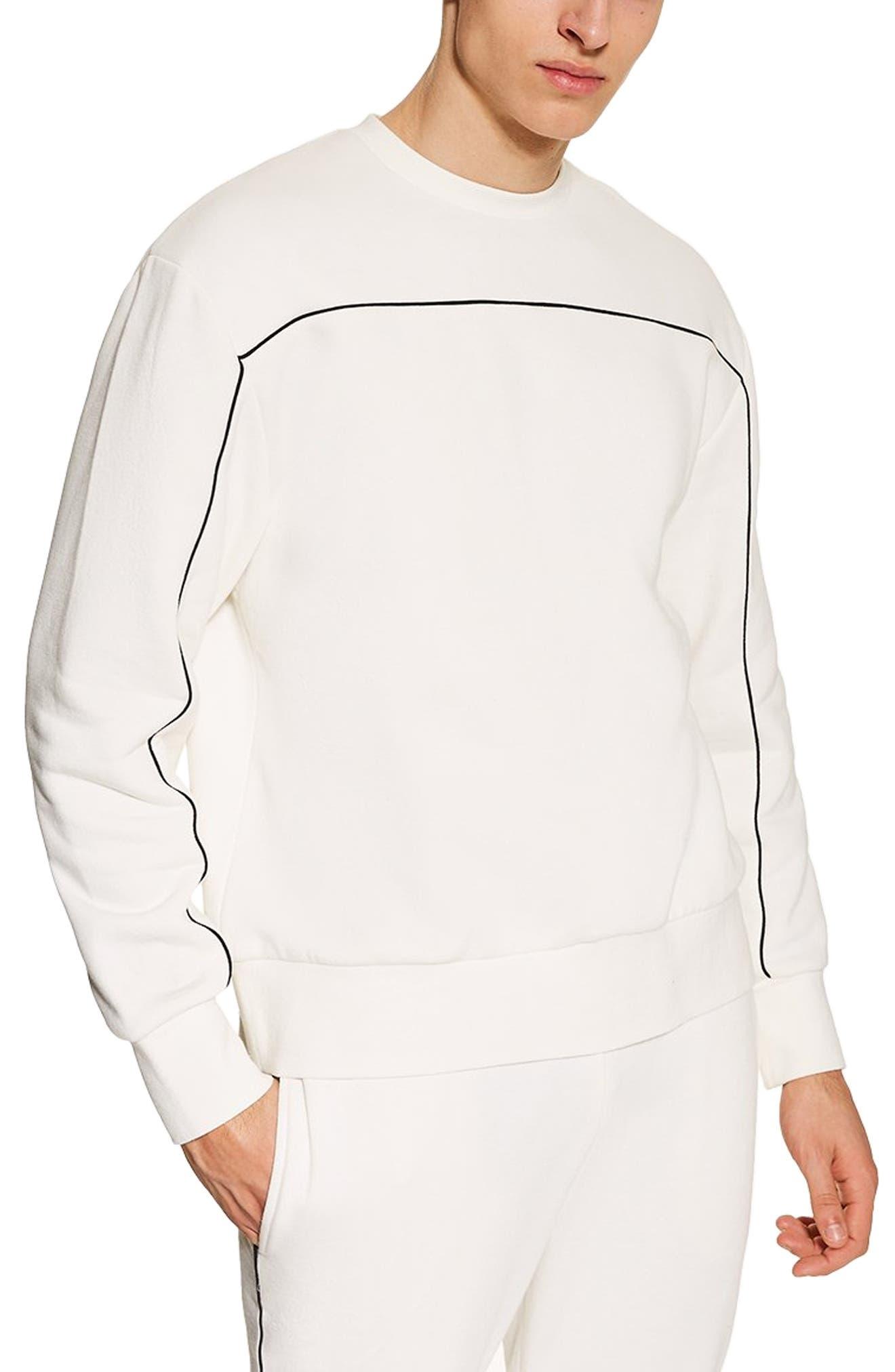TOPMAN Piped Sweatshirt, Main, color, CREAM
