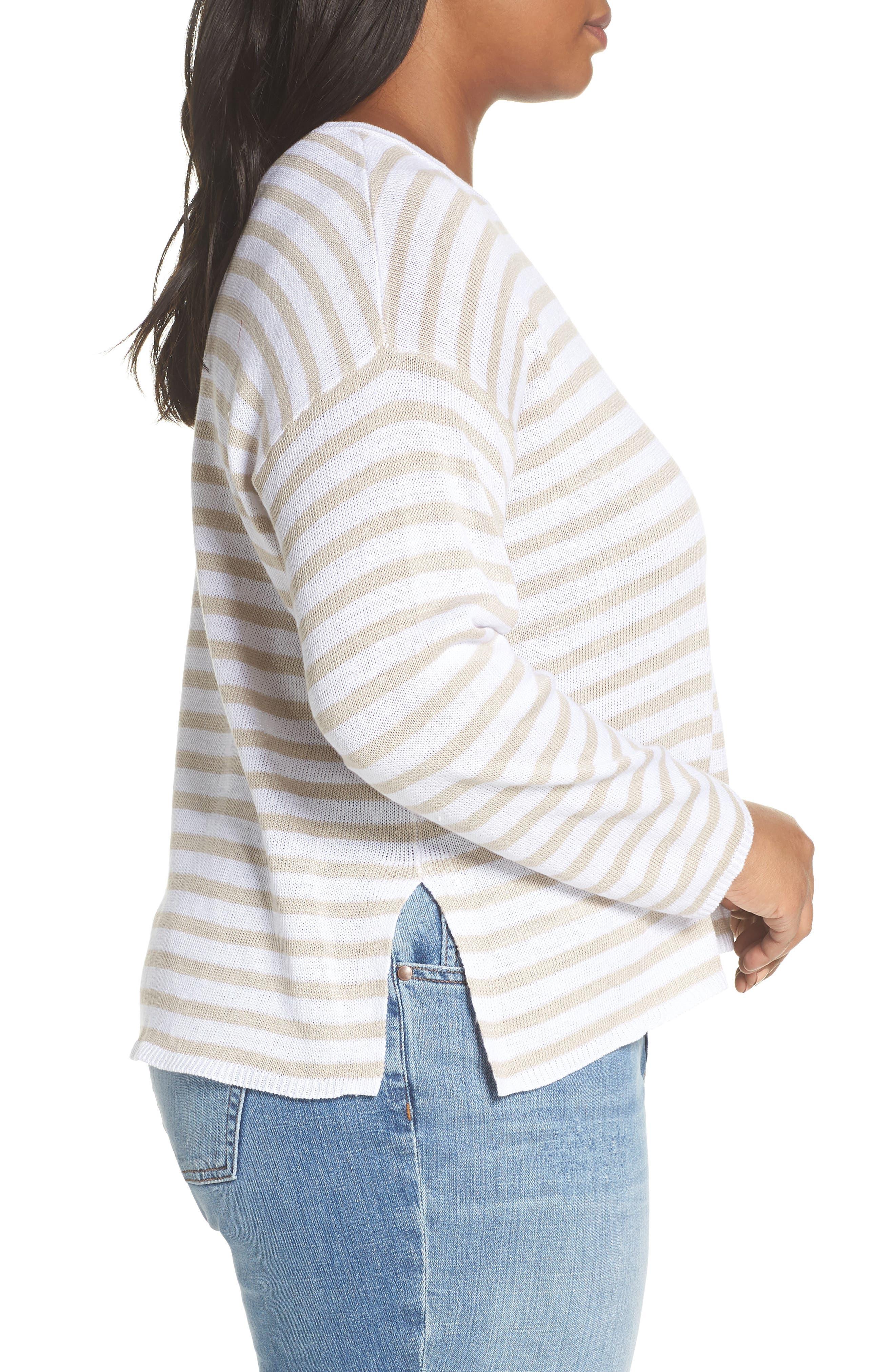 EILEEN FISHER, Stripe Organic Linen Sweater, Alternate thumbnail 3, color, WHITE NATURAL