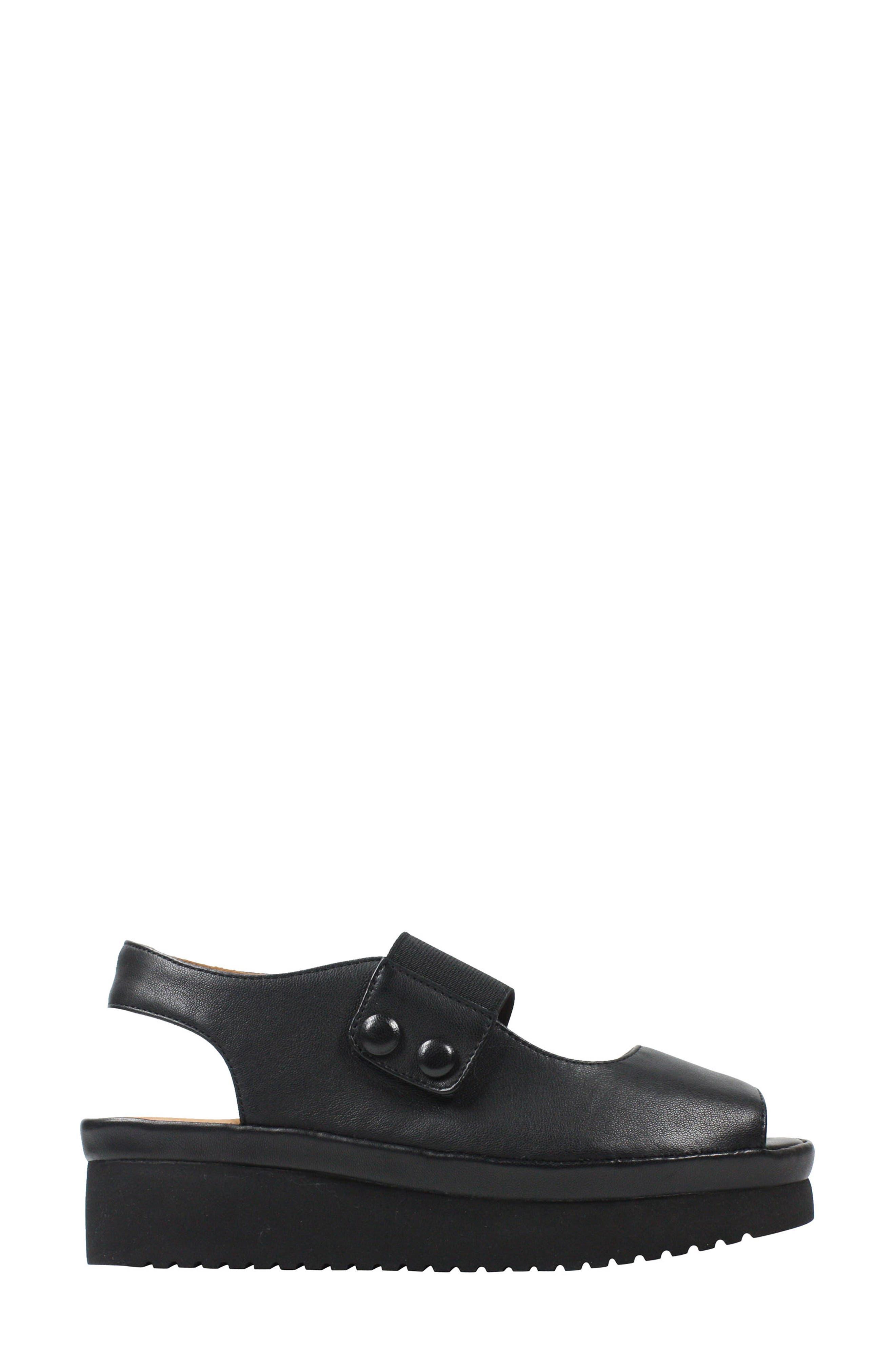 L'AMOUR DES PIEDS, Adalicia Platform Sandal, Alternate thumbnail 3, color, BLACK LEATHER