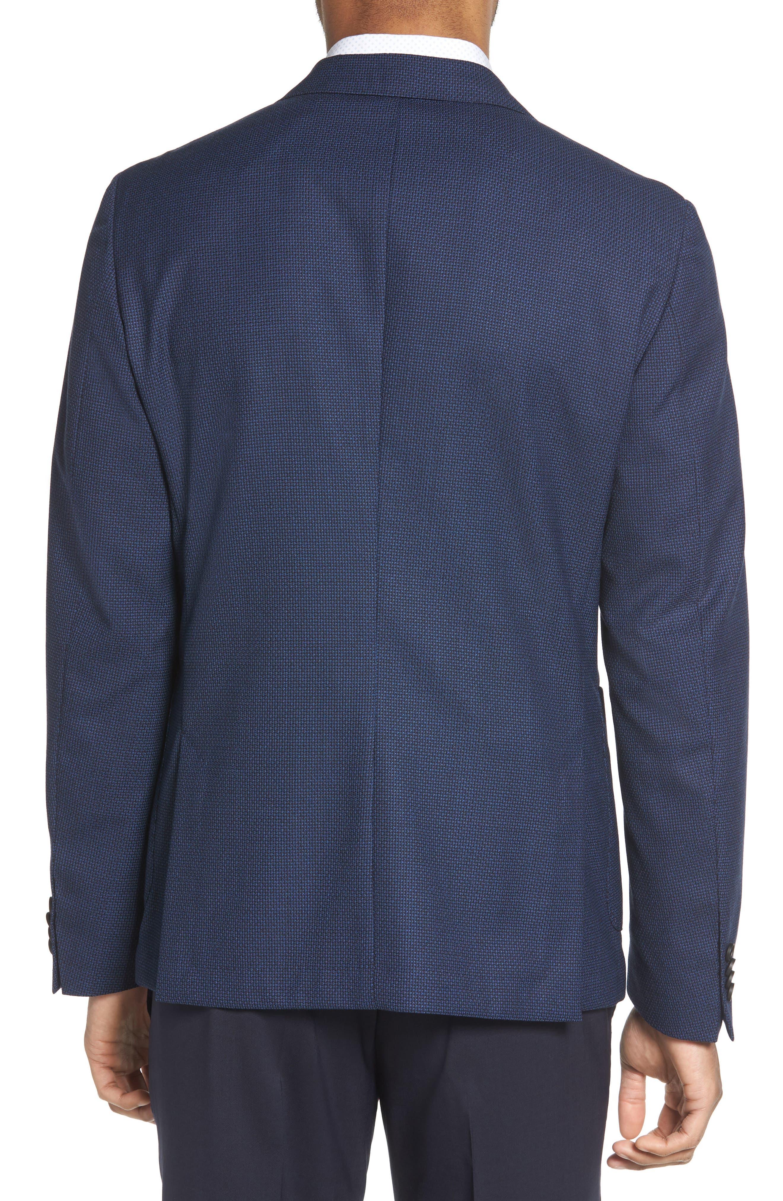 BOSS, Nold Slim Fit Wool Blazer, Alternate thumbnail 2, color, BLUE