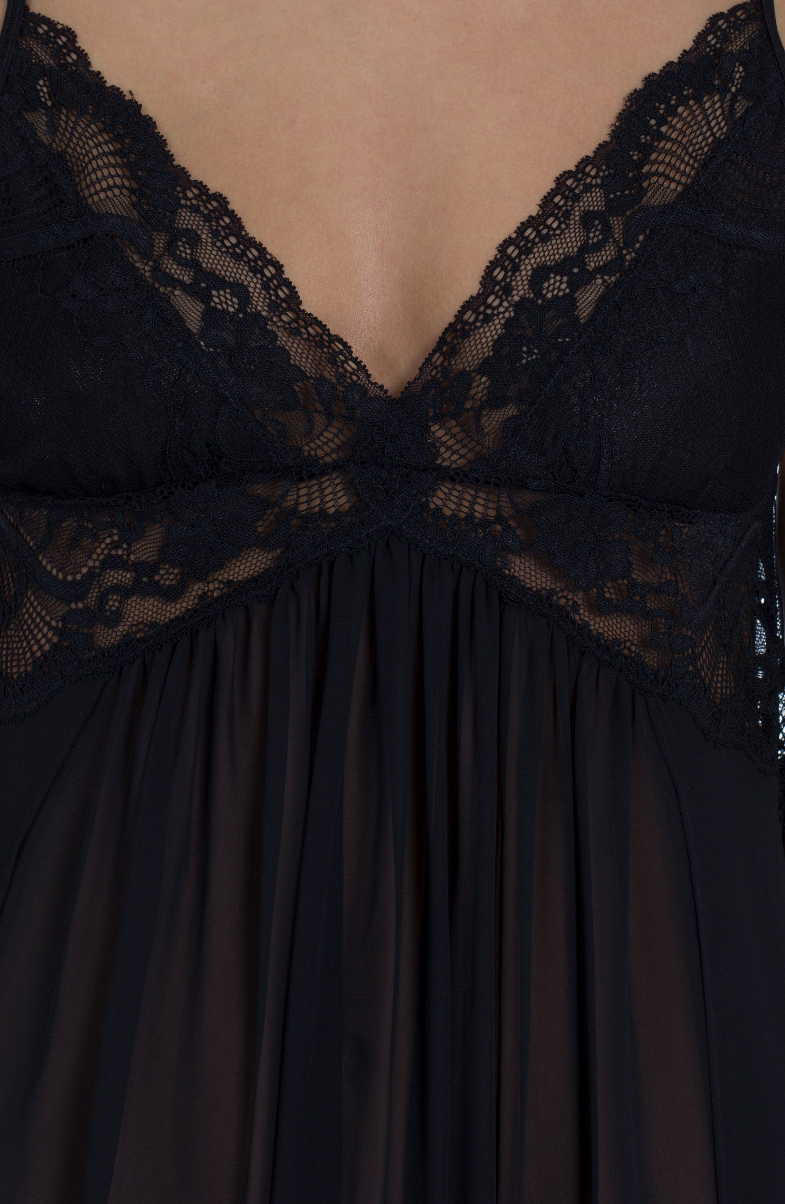 IN BLOOM BY JONQUIL, Long Chemise, Alternate thumbnail 4, color, BLACK