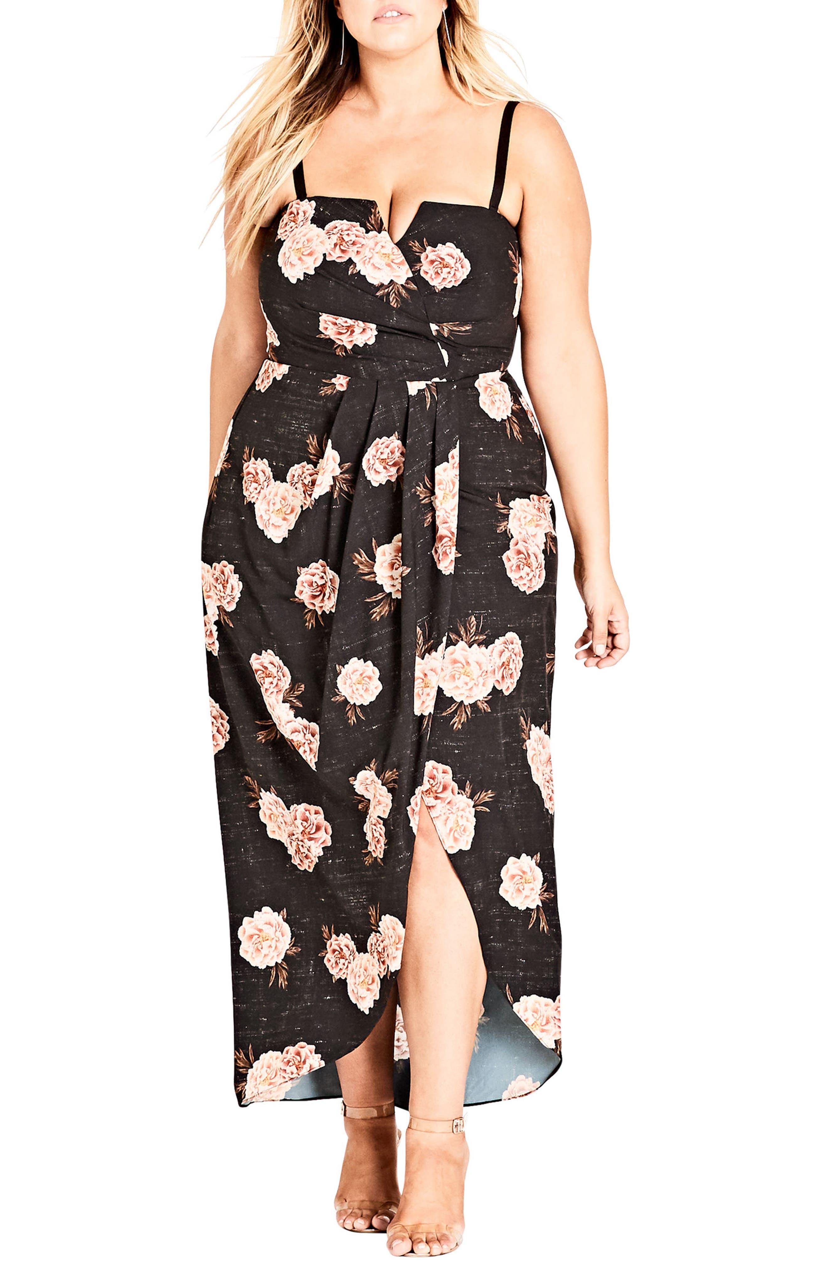 Plus Size City Chic Antique Rose Maxi Dress, Black