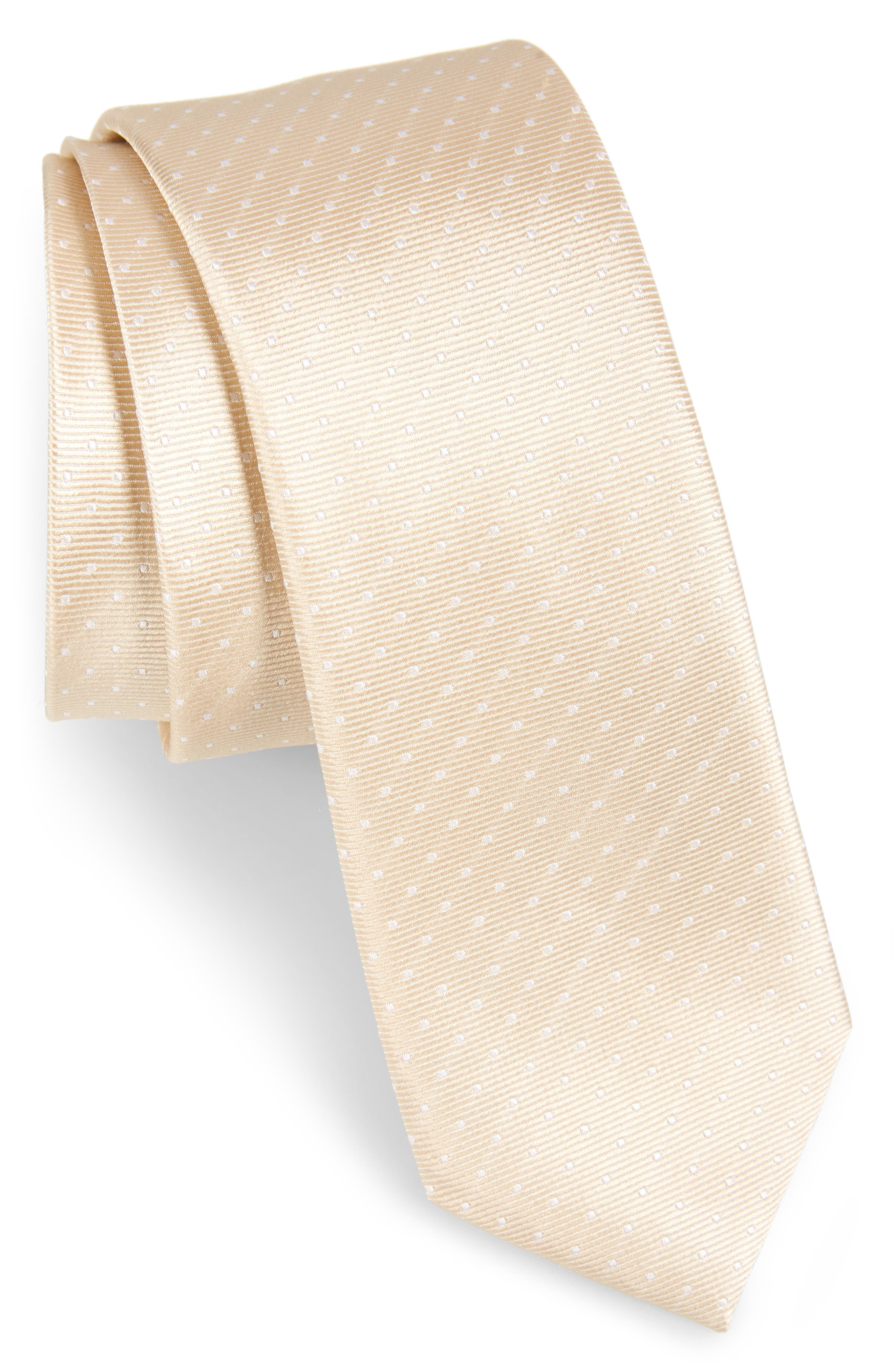 THE TIE BAR, Dot Silk Tie, Main thumbnail 1, color, LIGHT CHAMPAGNE