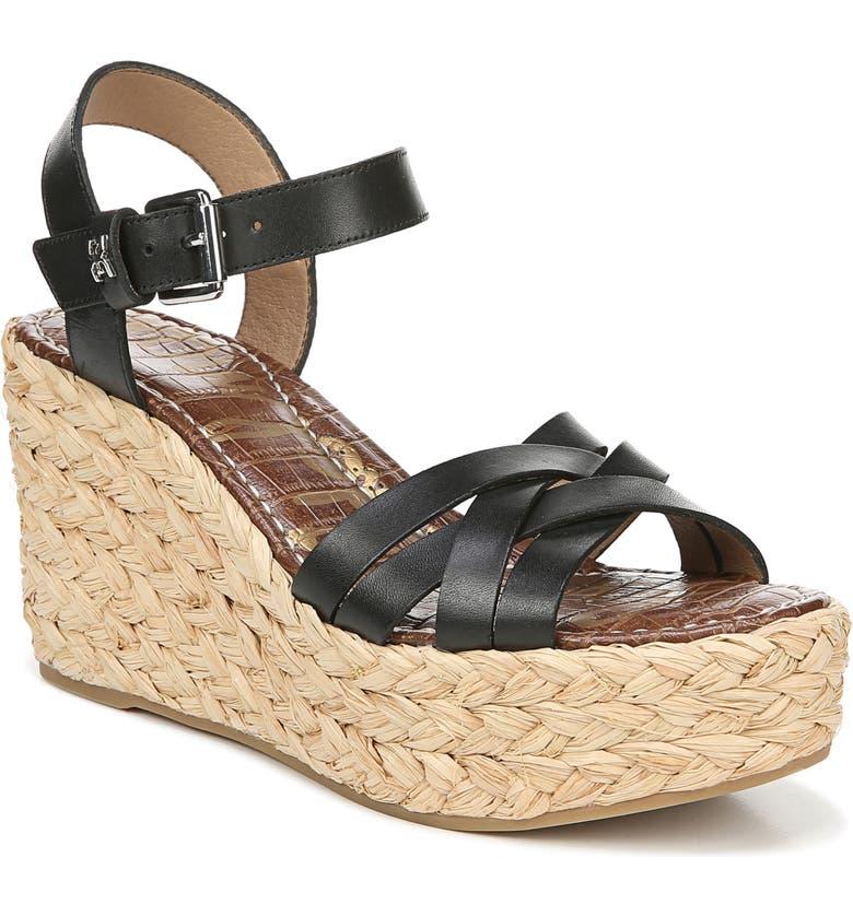 08aa9e9caa0f Sam Edelman Women s Darline Espadrille Wedge Heel Platform Sandals In Black  Leather