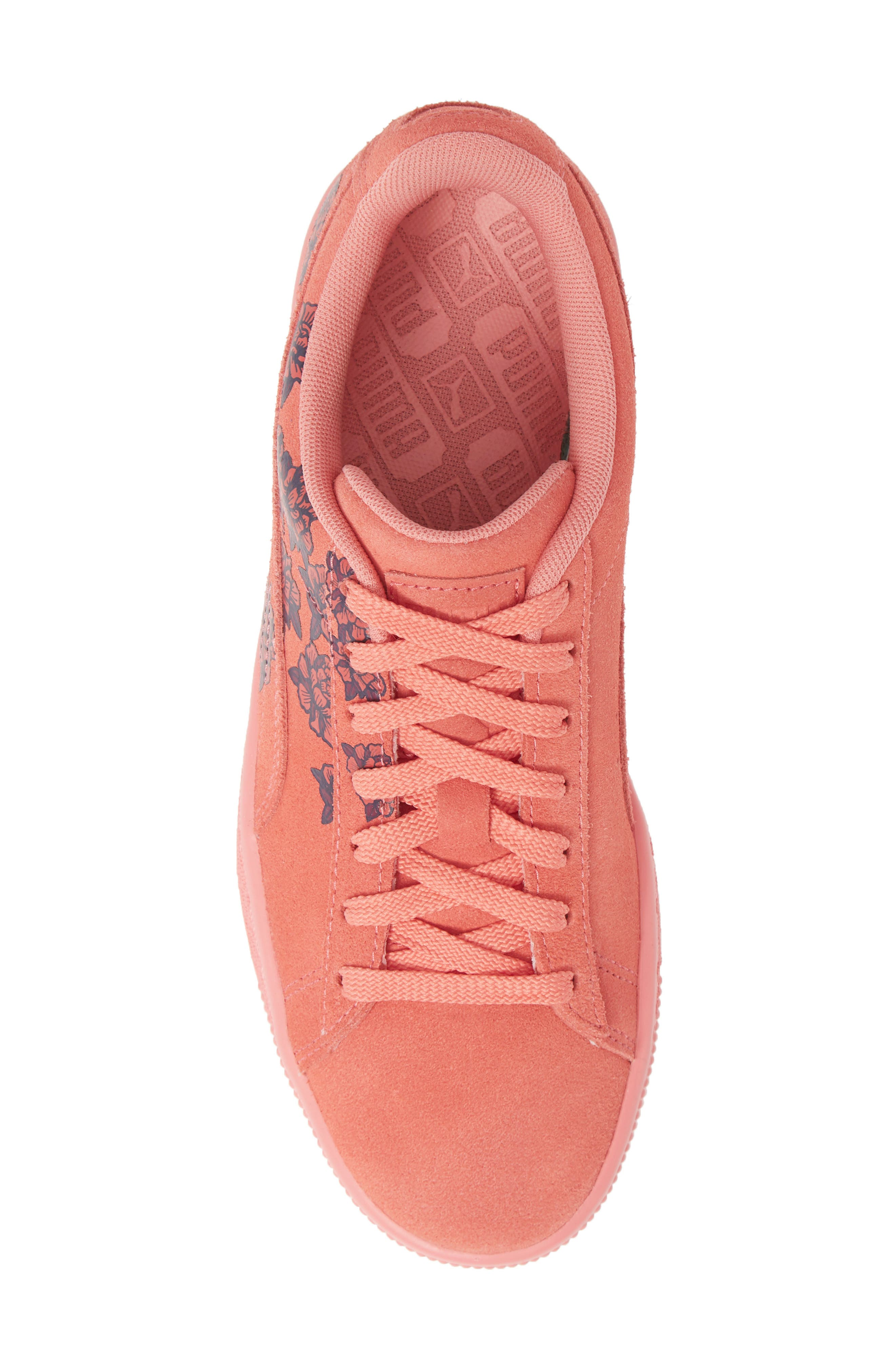 PUMA, Suede TOL Graphic Sneaker, Alternate thumbnail 5, color, SHELL PINK