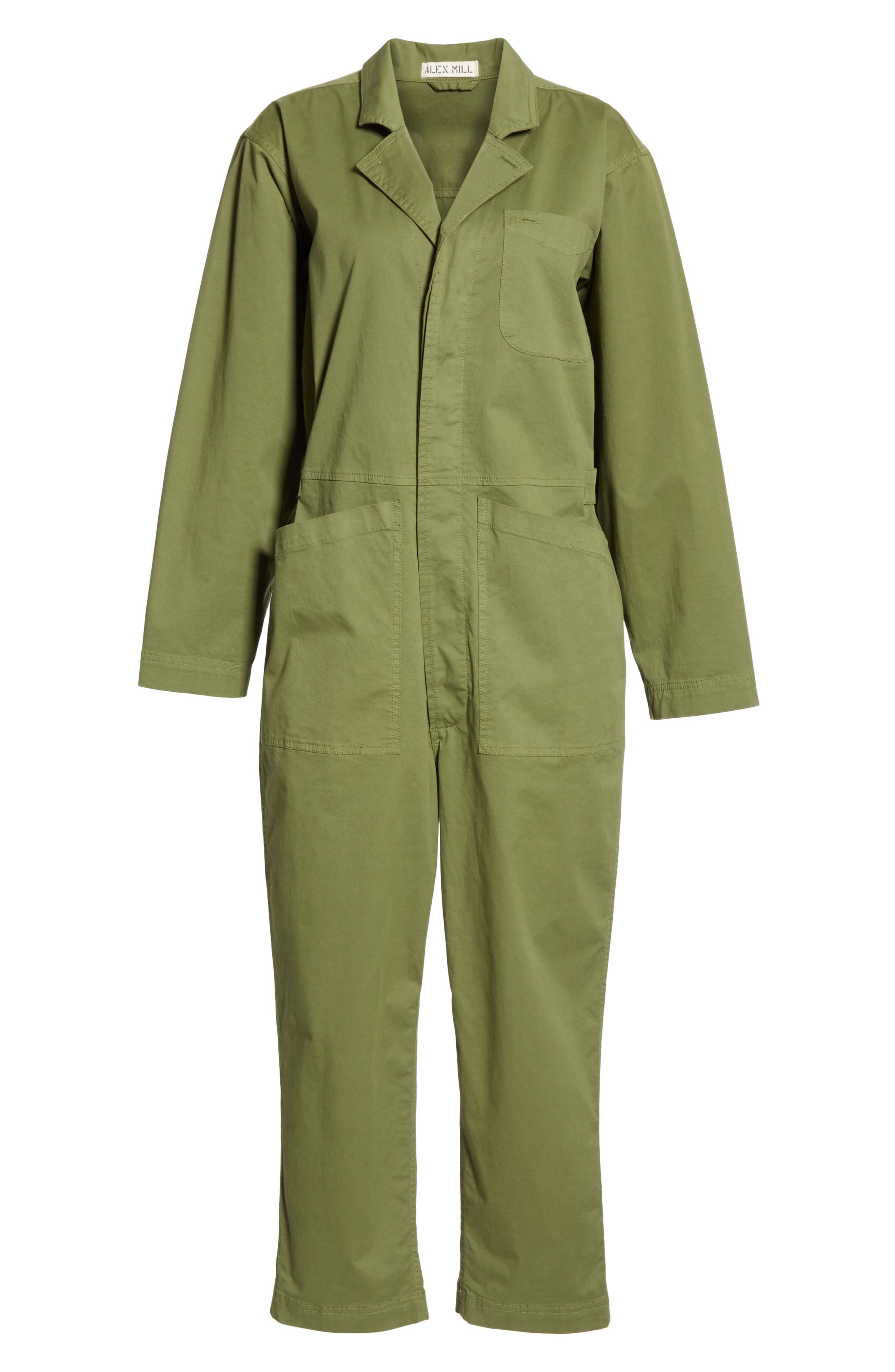ALEX MILL, Stretch Cotton Jumpsuit, Alternate thumbnail 7, color, ARMY GREEN