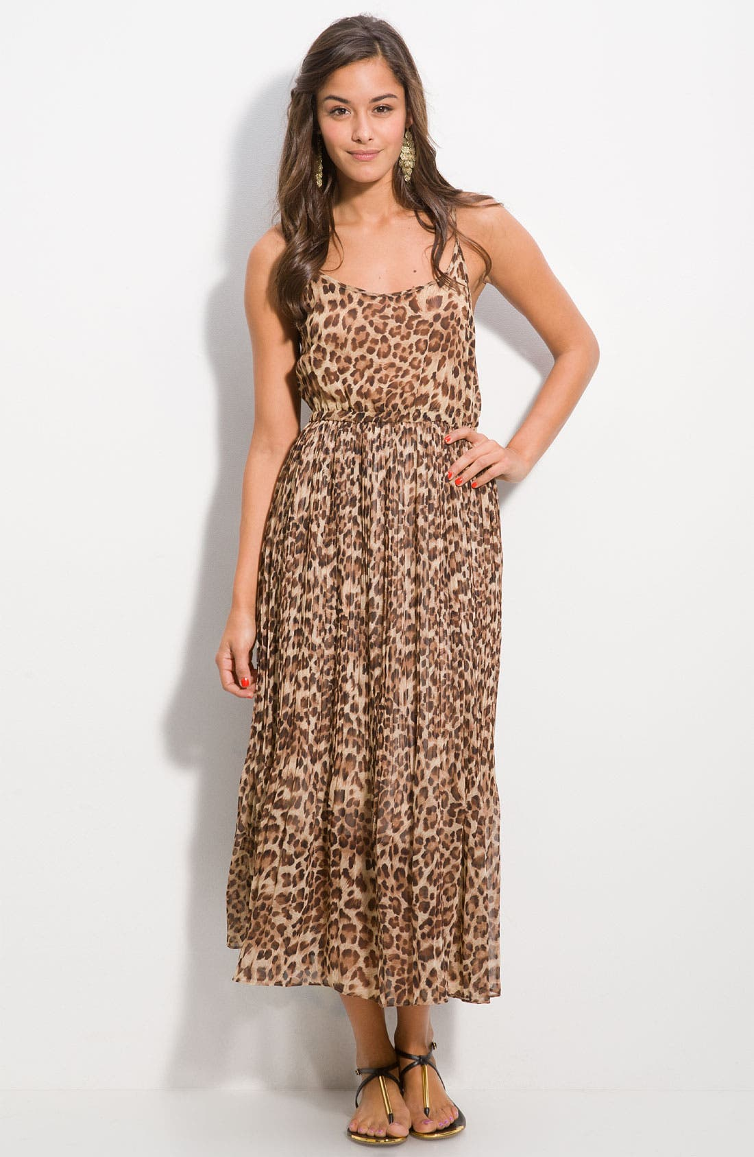 DEE&RAY, Animal Print Maxi Dress, Main thumbnail 1, color, 200