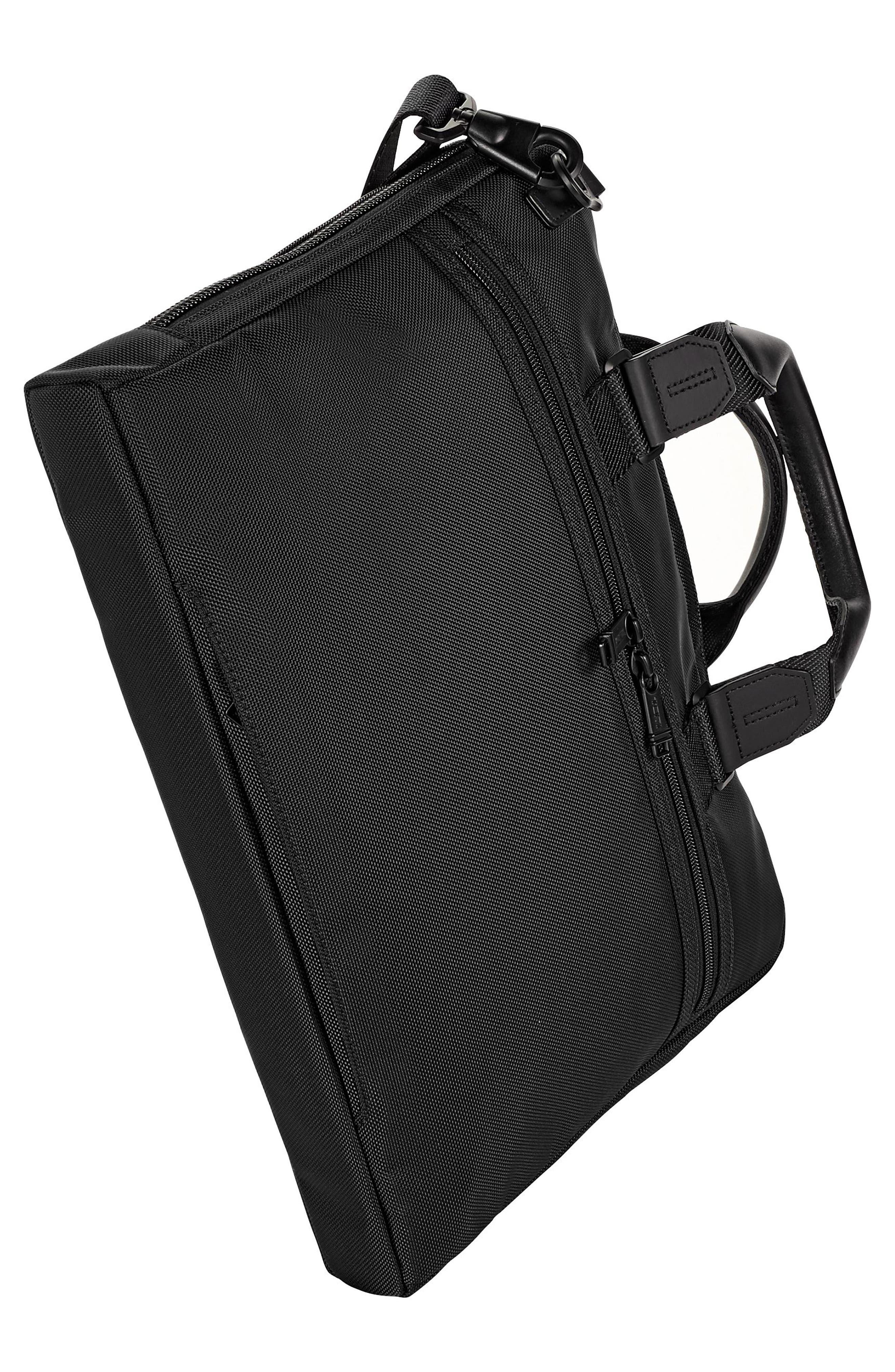 TUMI, Alpha Bravo - Aviano Slim Briefcase, Alternate thumbnail 4, color, BLACK