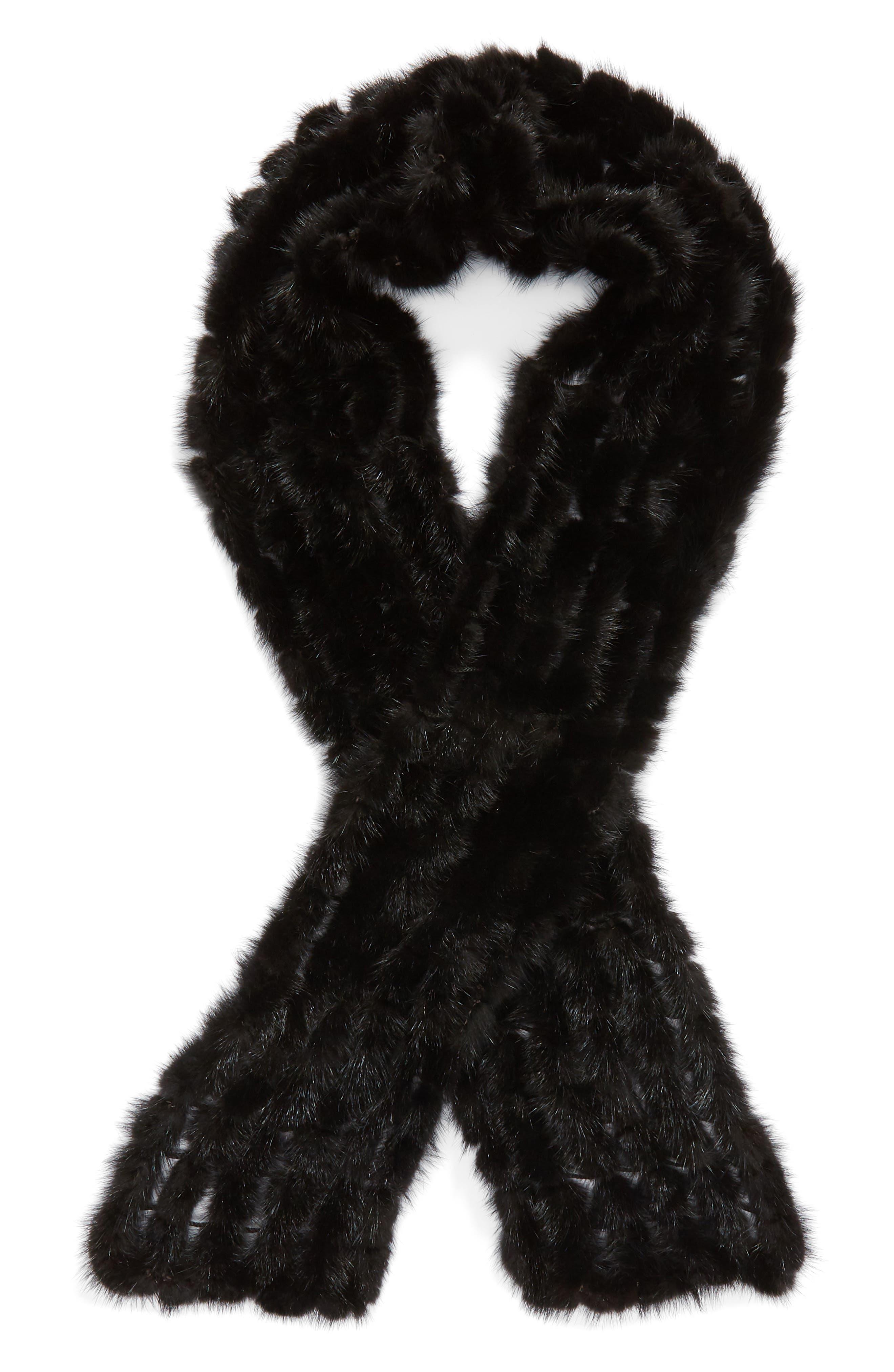 LA FIORENTINA, Balled Genuine Mink Fur Muffler, Alternate thumbnail 2, color, 001