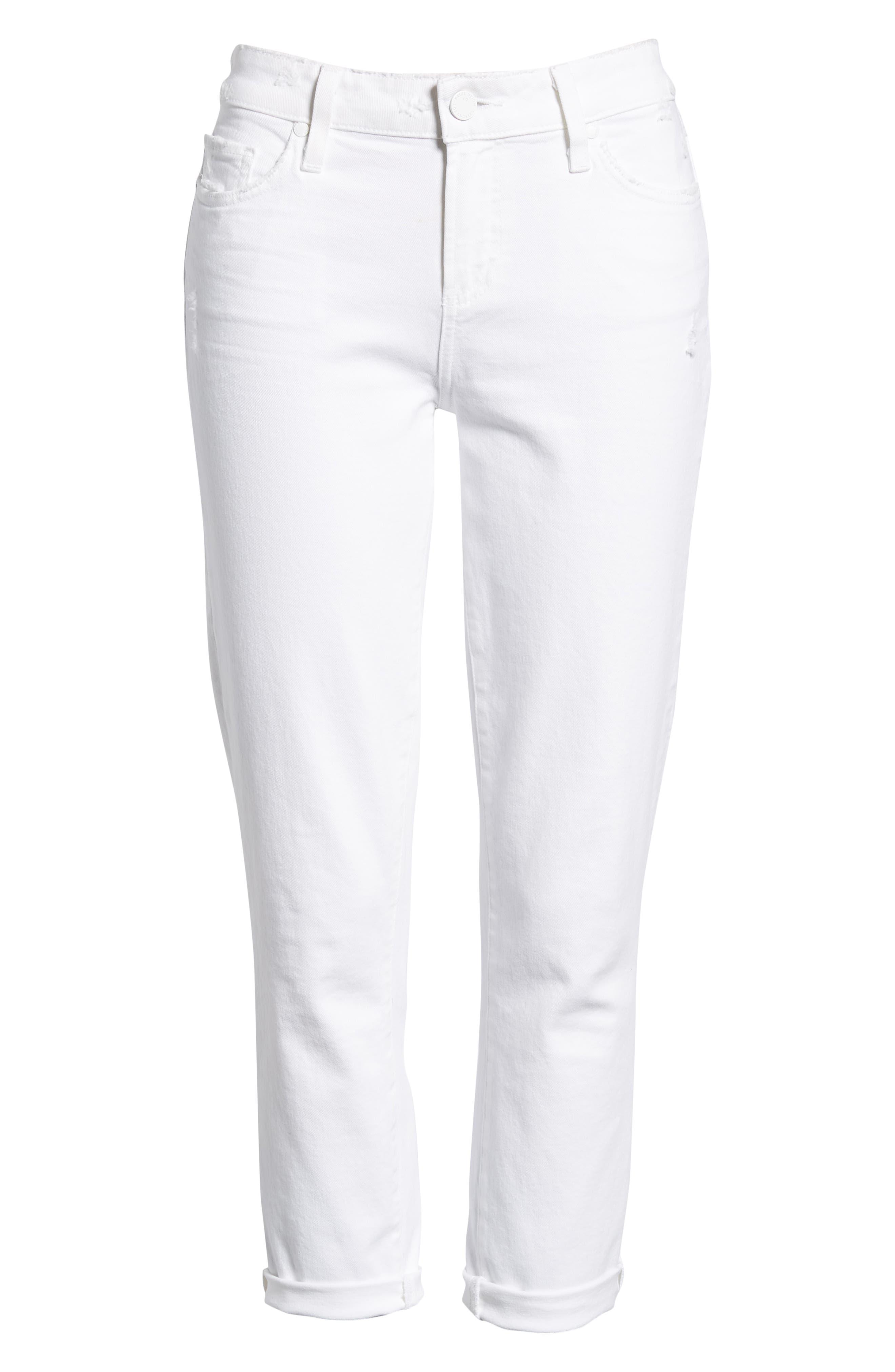 PAIGE, Skyline Raw Hem Crop Skinny Jeans, Alternate thumbnail 7, color, LIVED IN CRISP WHITE