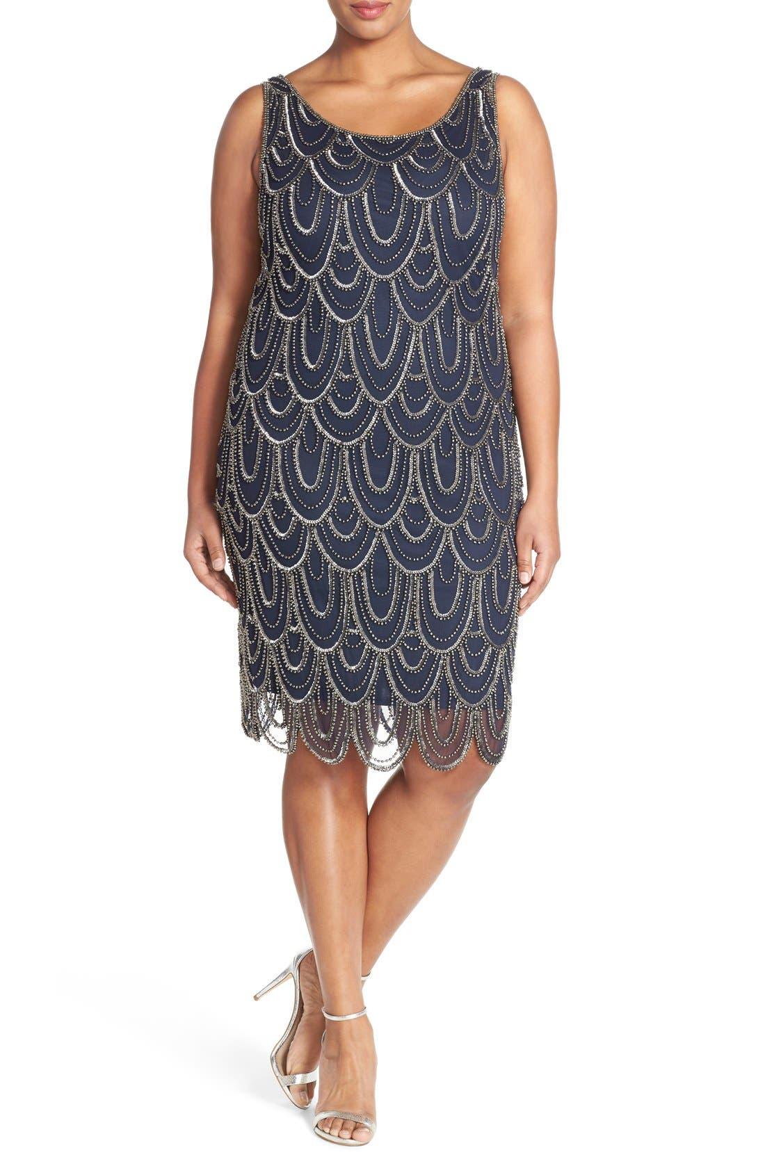 PISARRO NIGHTS Beaded Sheath Dress, Main, color, 410