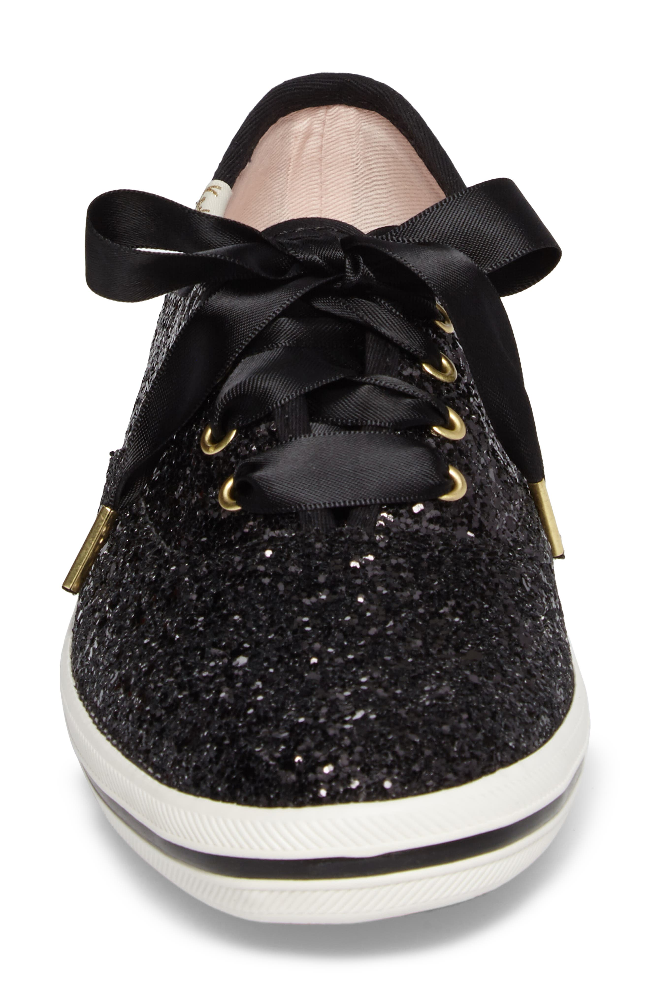 KEDS<SUP>®</SUP> FOR KATE SPADE NEW YORK, glitter sneaker, Alternate thumbnail 4, color, BLACK