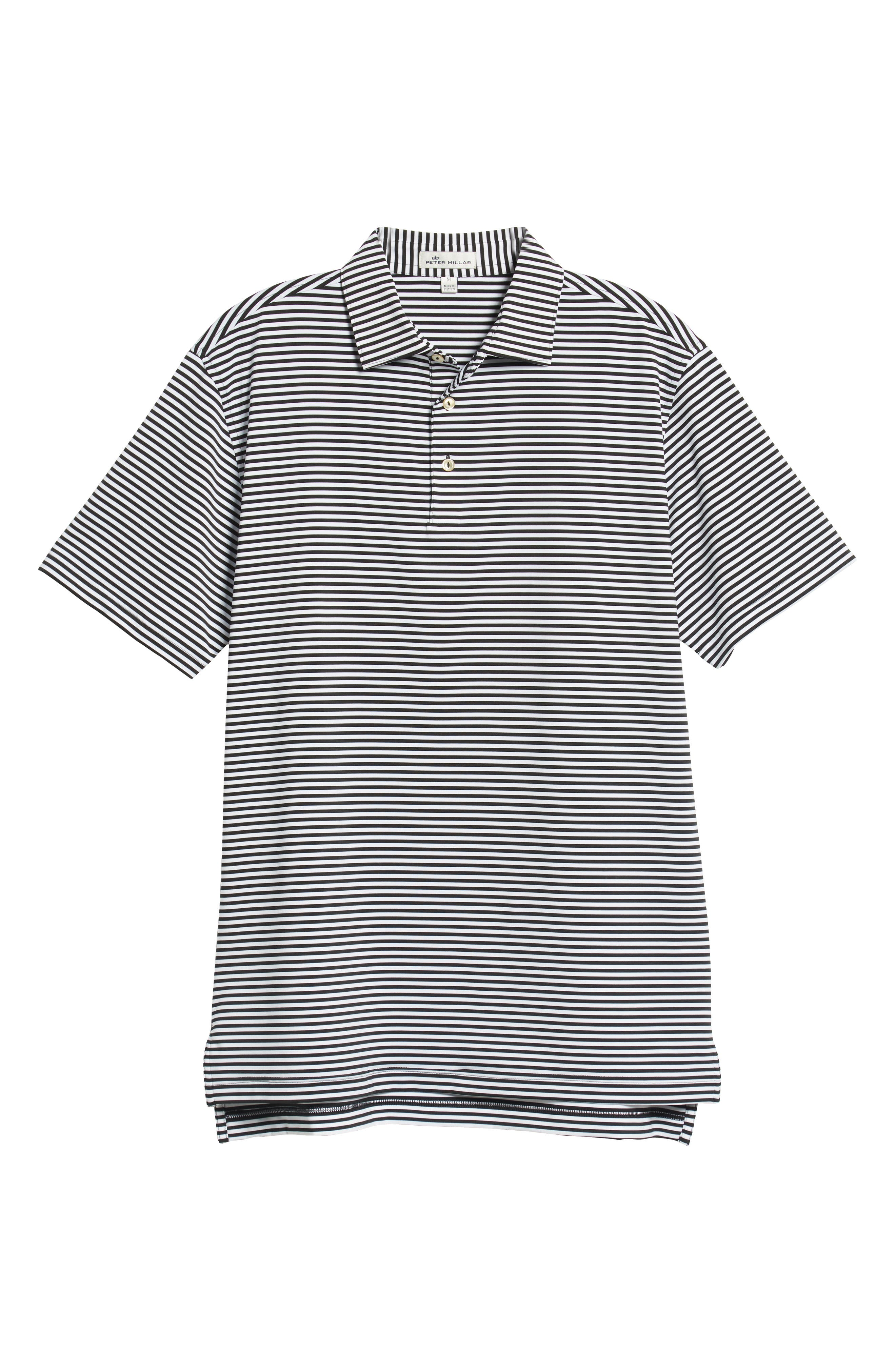 PETER MILLAR, Stripe Stretch Jersey Performance Polo, Alternate thumbnail 6, color, BLACK/WHITE