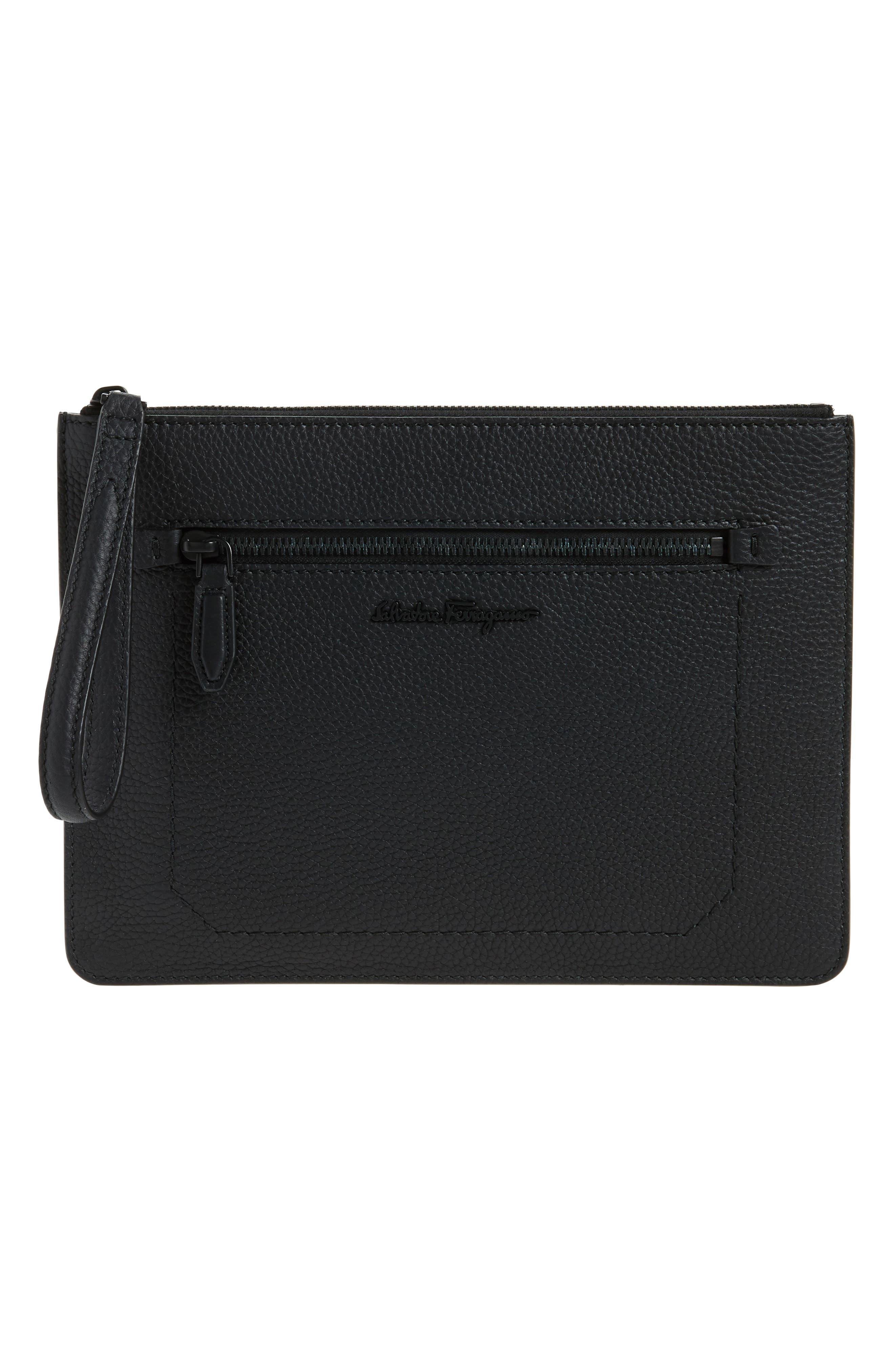 SALVATORE FERRAGAMO Calfskin Leather Portfolio, Main, color, 001
