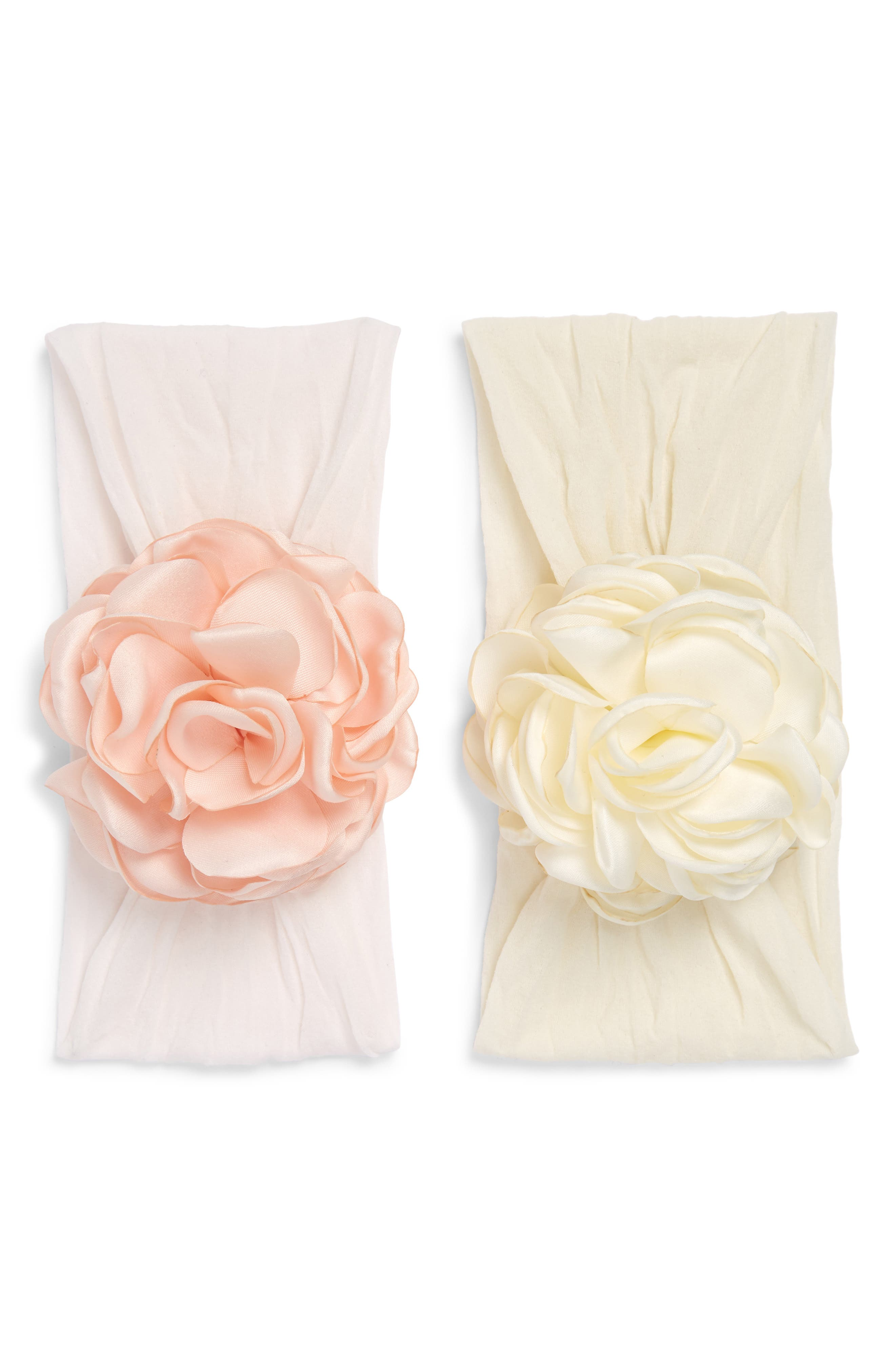 BABY BLING, 2-Pack Flower Head Wraps, Main thumbnail 1, color, BALLET PINK/ IVORY