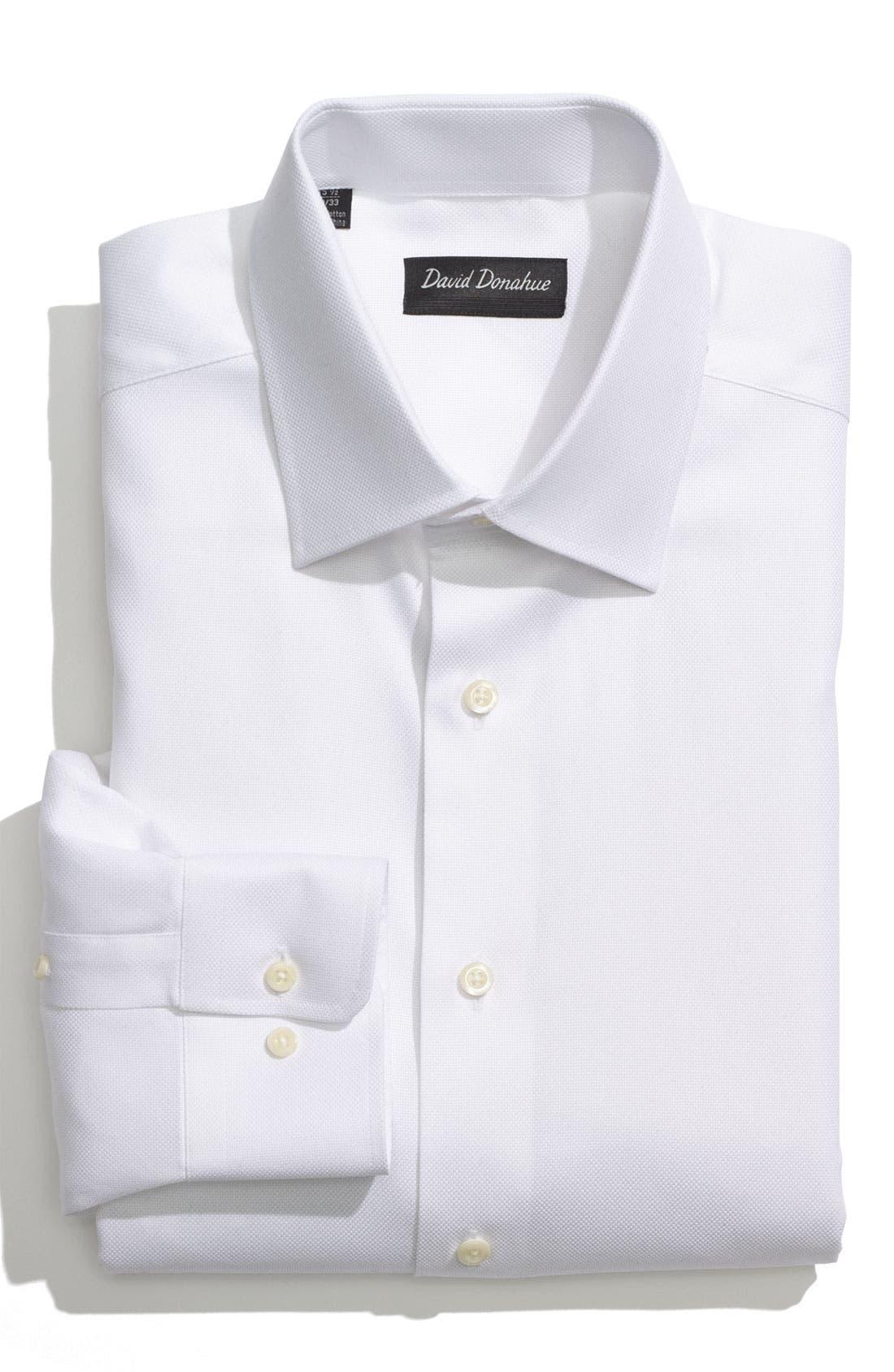 DAVID DONAHUE, Regular Fit Oxford Dress Shirt, Main thumbnail 1, color, WHITE