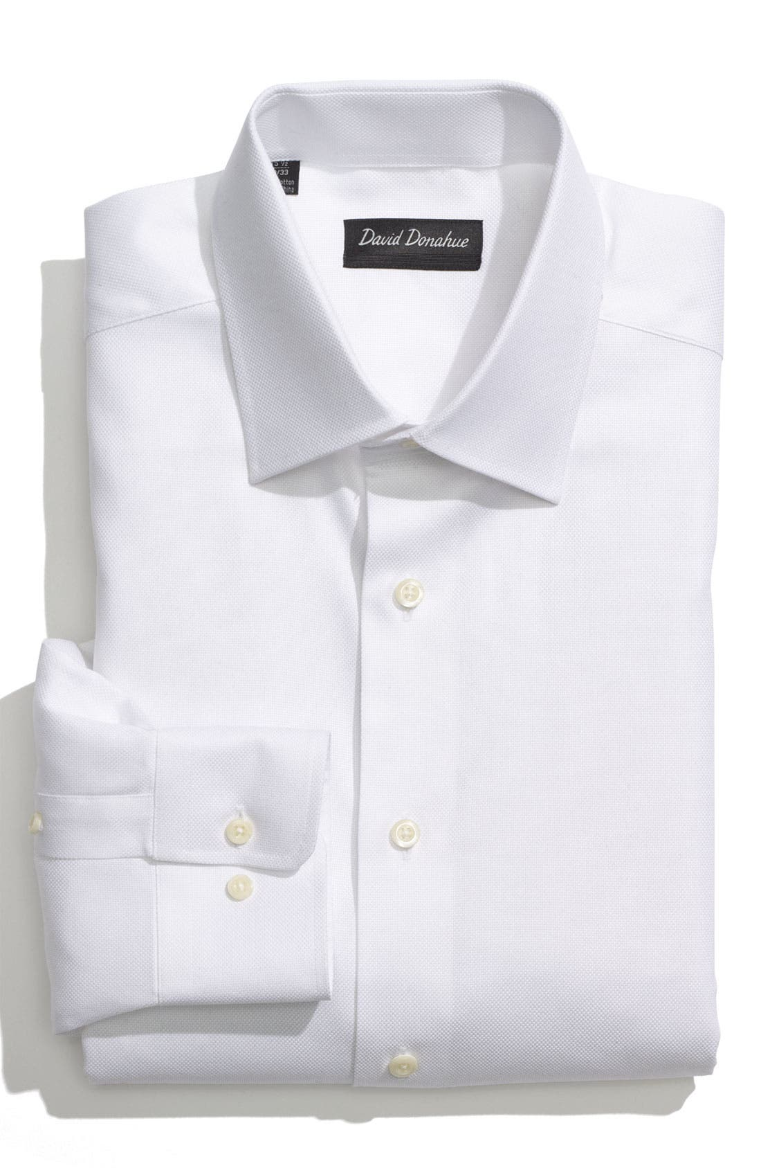 DAVID DONAHUE Regular Fit Oxford Dress Shirt, Main, color, WHITE