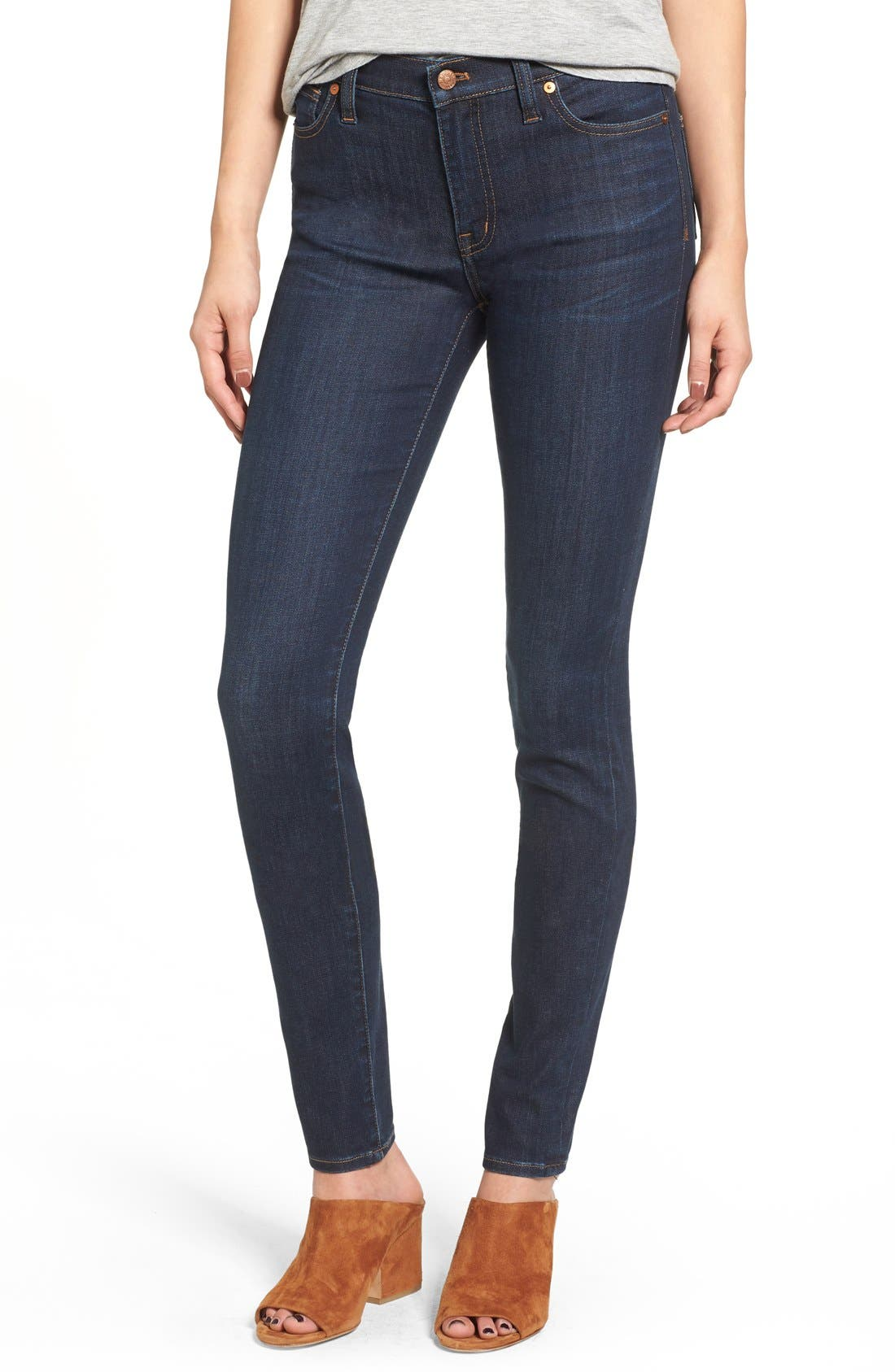 MADEWELL, 9-Inch High Rise Skinny Jeans, Alternate thumbnail 15, color, LARKSPUR