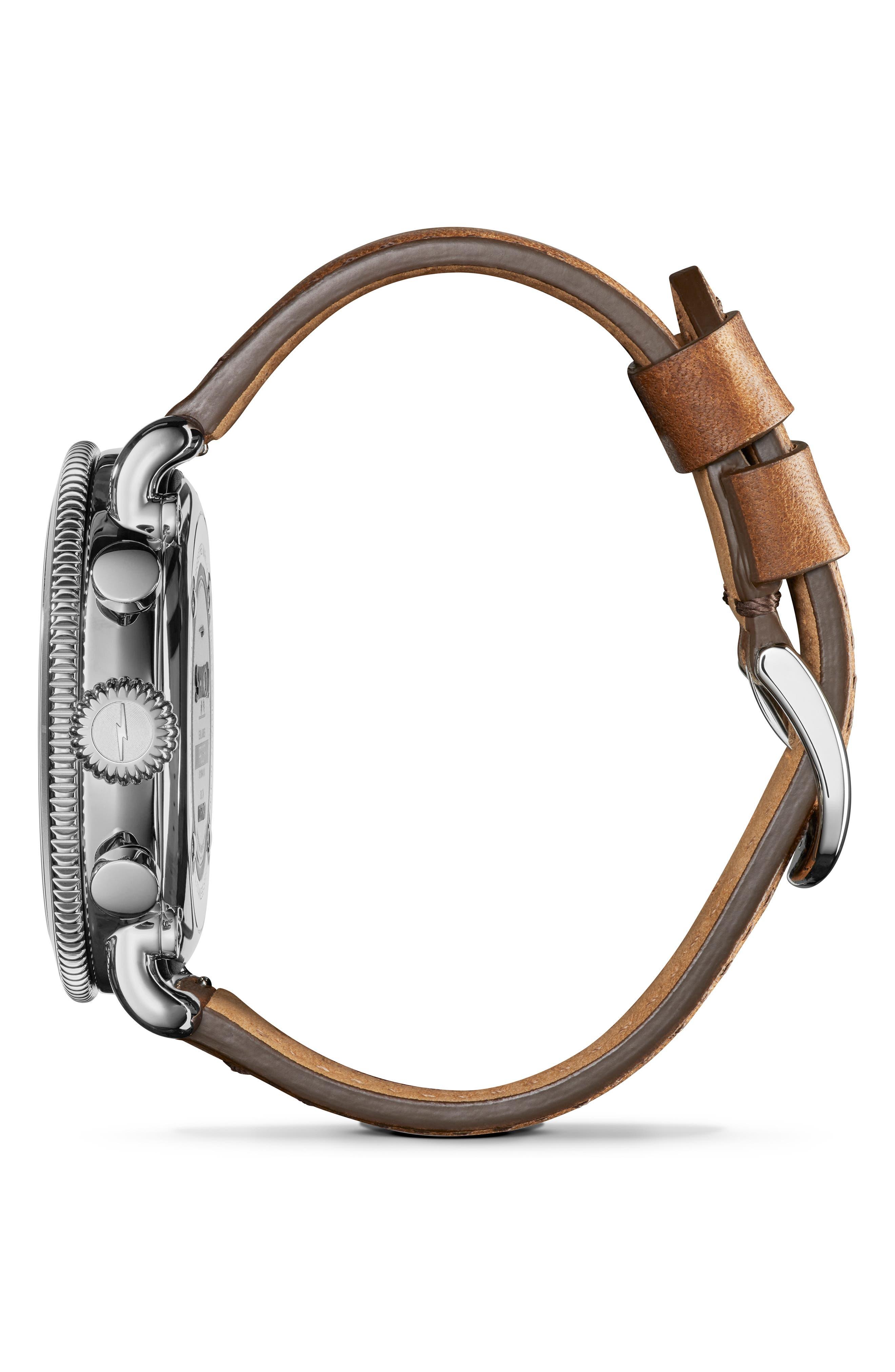 SHINOLA, The Runwell Sport Chronograph Watch, 48mm, Alternate thumbnail 3, color, BRITISH TAN/ SILVER SUNRAY