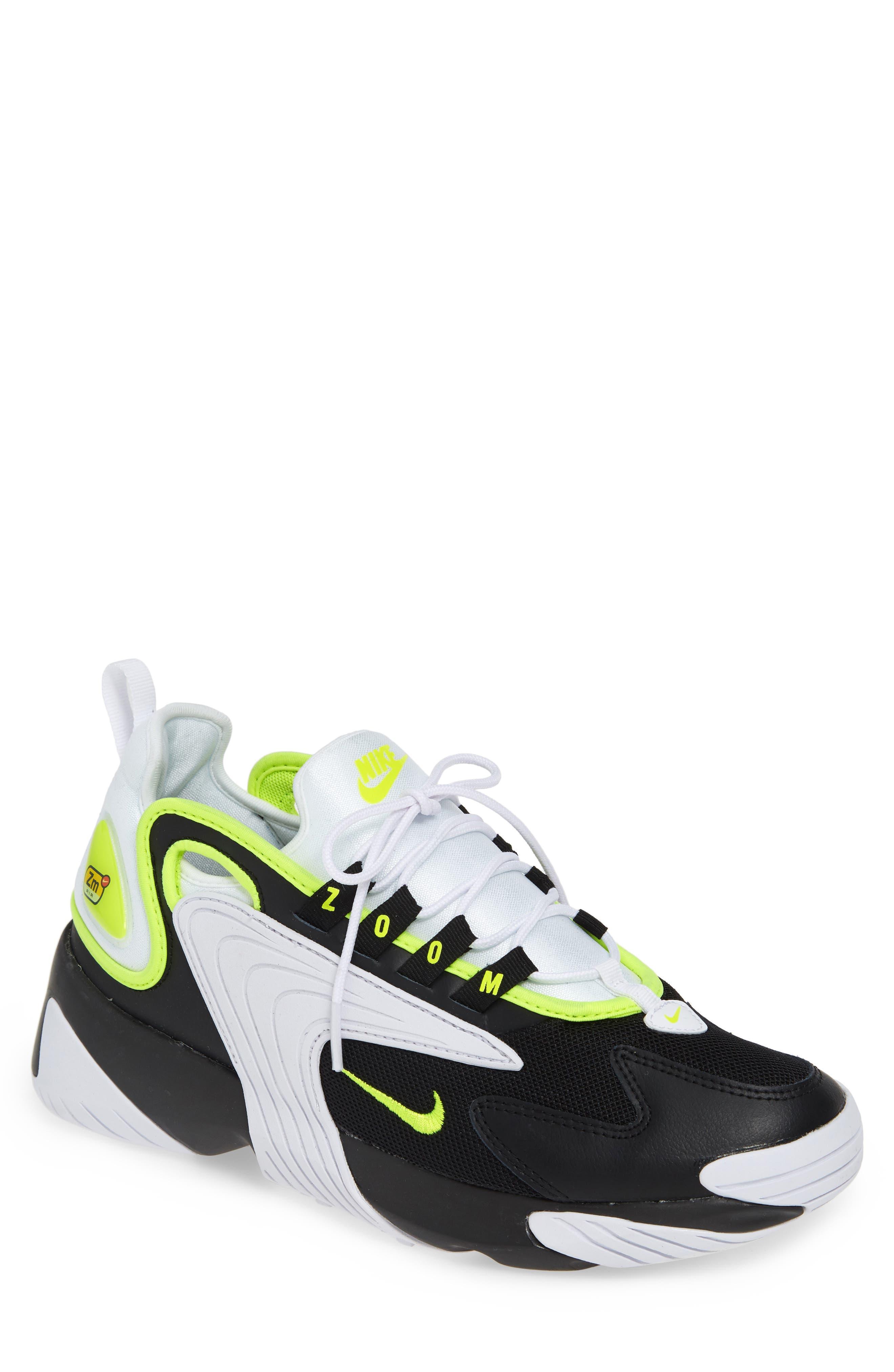 NIKE, Zoom 2K Sneaker, Main thumbnail 1, color, BLACK/ VOLT/ WHITE