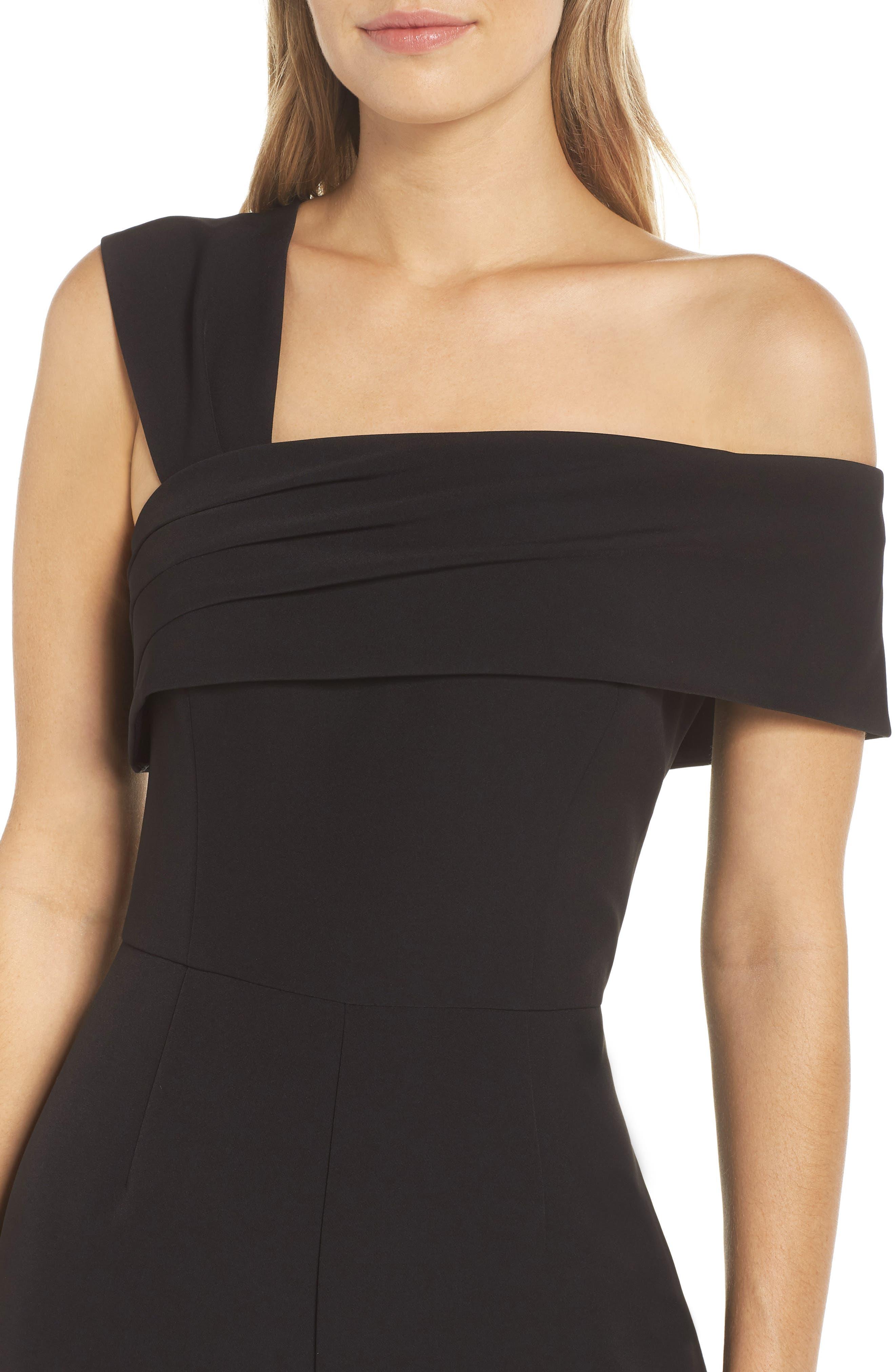 ELIZA J, Asymmetrical Neckline Jumpsuit, Alternate thumbnail 5, color, BLACK