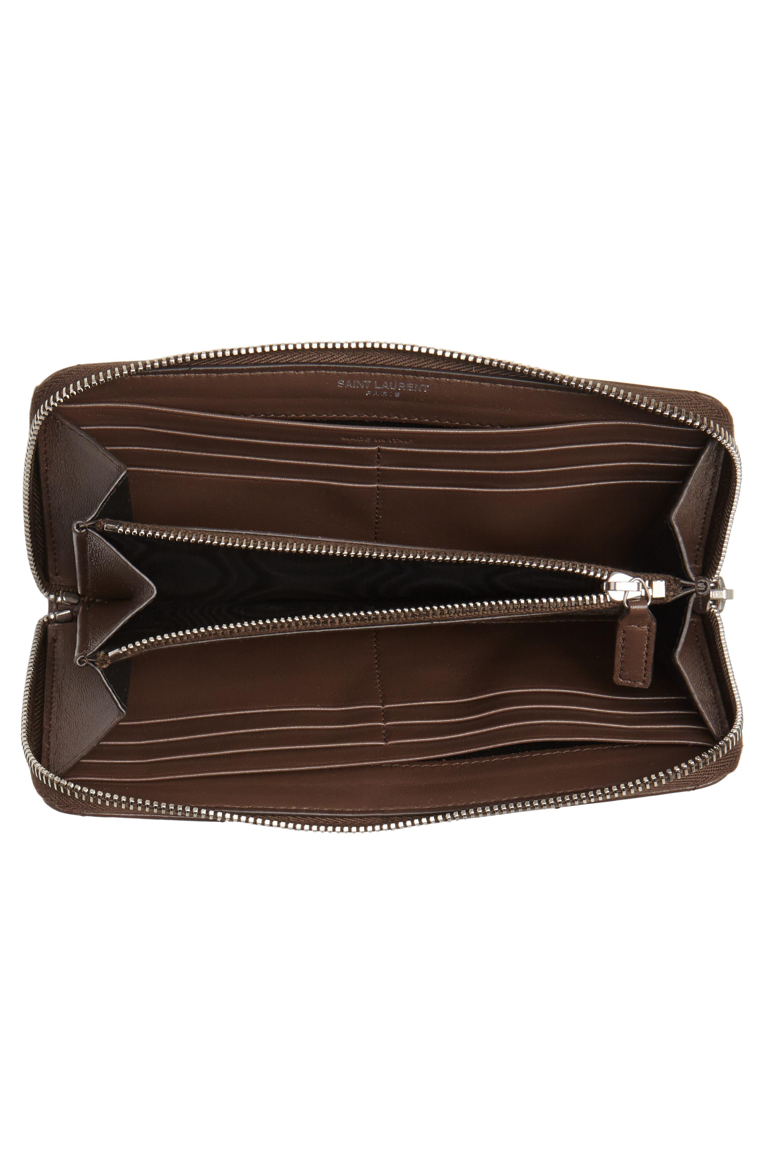 SAINT LAURENT, Loulou Matelassé Leather Zip-Around Wallet, Alternate thumbnail 4, color, FAGGIO