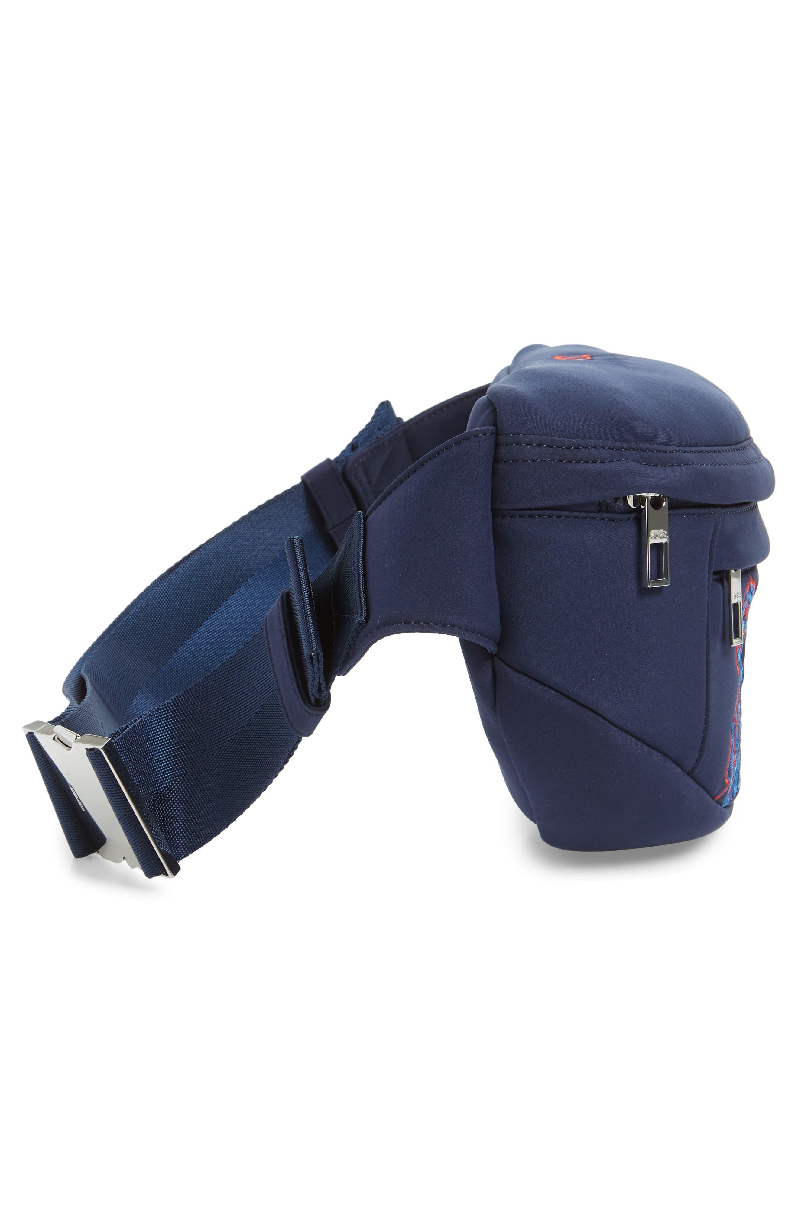 KENZO, Embroidered Tiger Belt Bag, Alternate thumbnail 6, color, 76A NAVY BLUE
