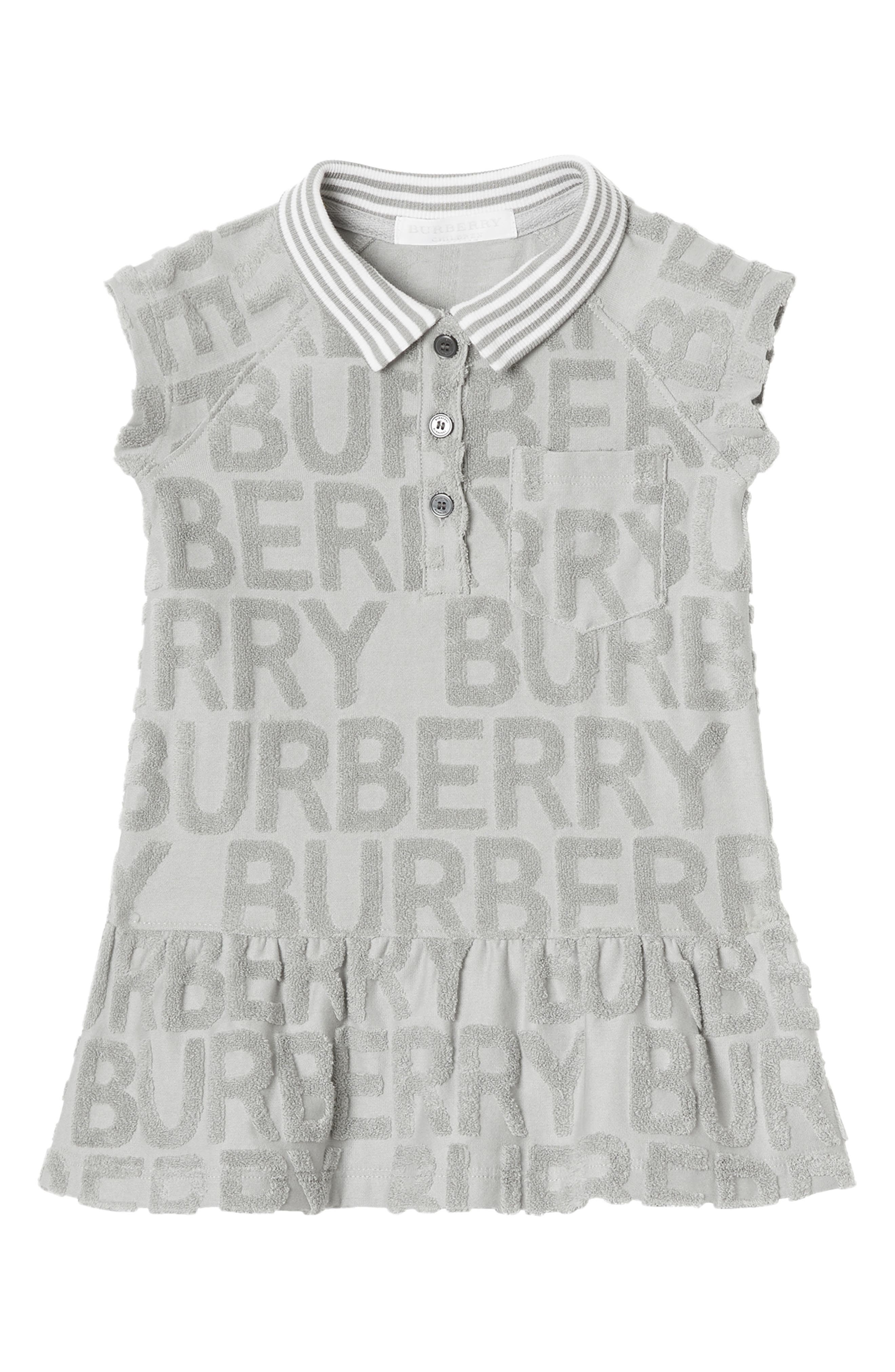 BURBERRY, Brigitta Knit Polo Dress, Main thumbnail 1, color, PALE GREY