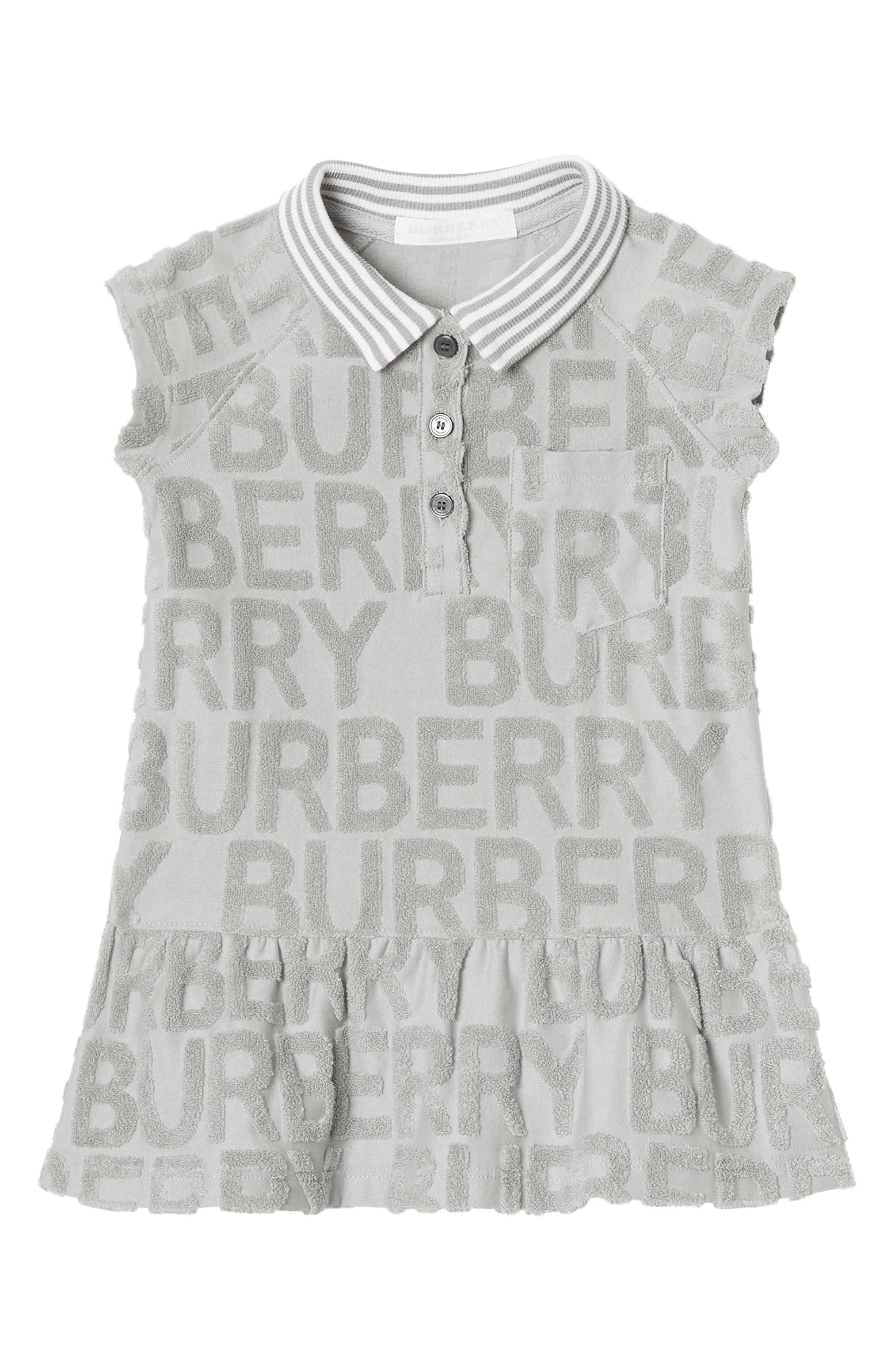 BURBERRY Brigitta Knit Polo Dress, Main, color, PALE GREY