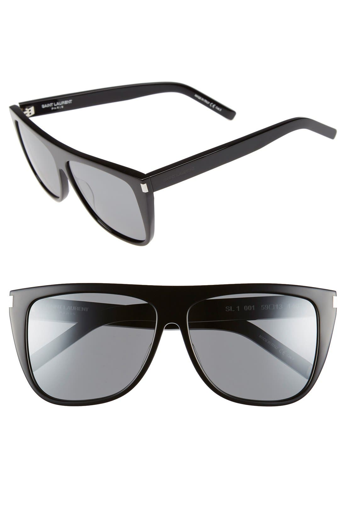 SAINT LAURENT, SL1 59mm Flat Top Sunglasses, Main thumbnail 1, color, BLACK/ SILVER