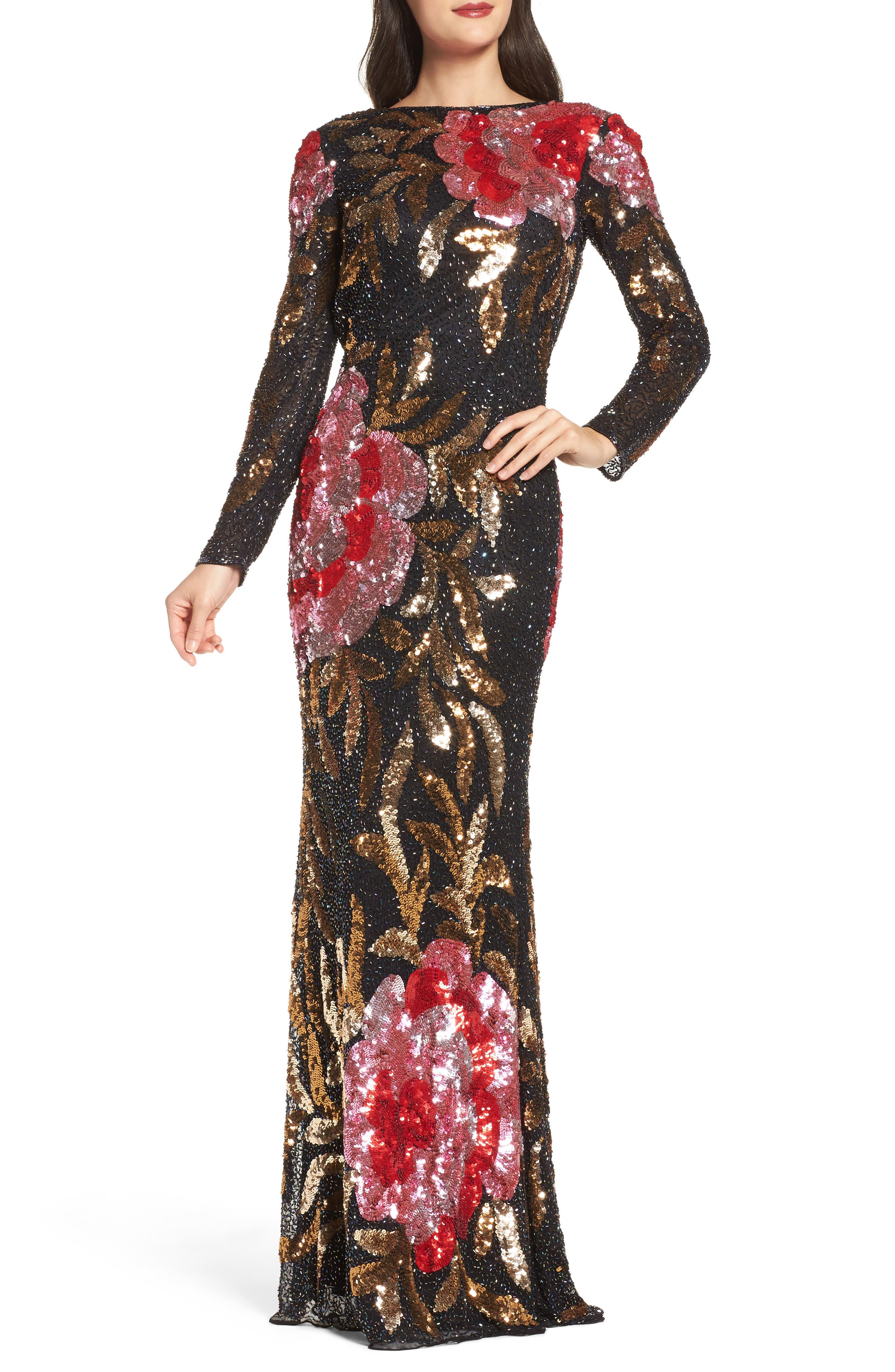 MAC DUGGAL, Drape Back Floral Sequin Gown, Main thumbnail 1, color, BLACK/ RED MULTI