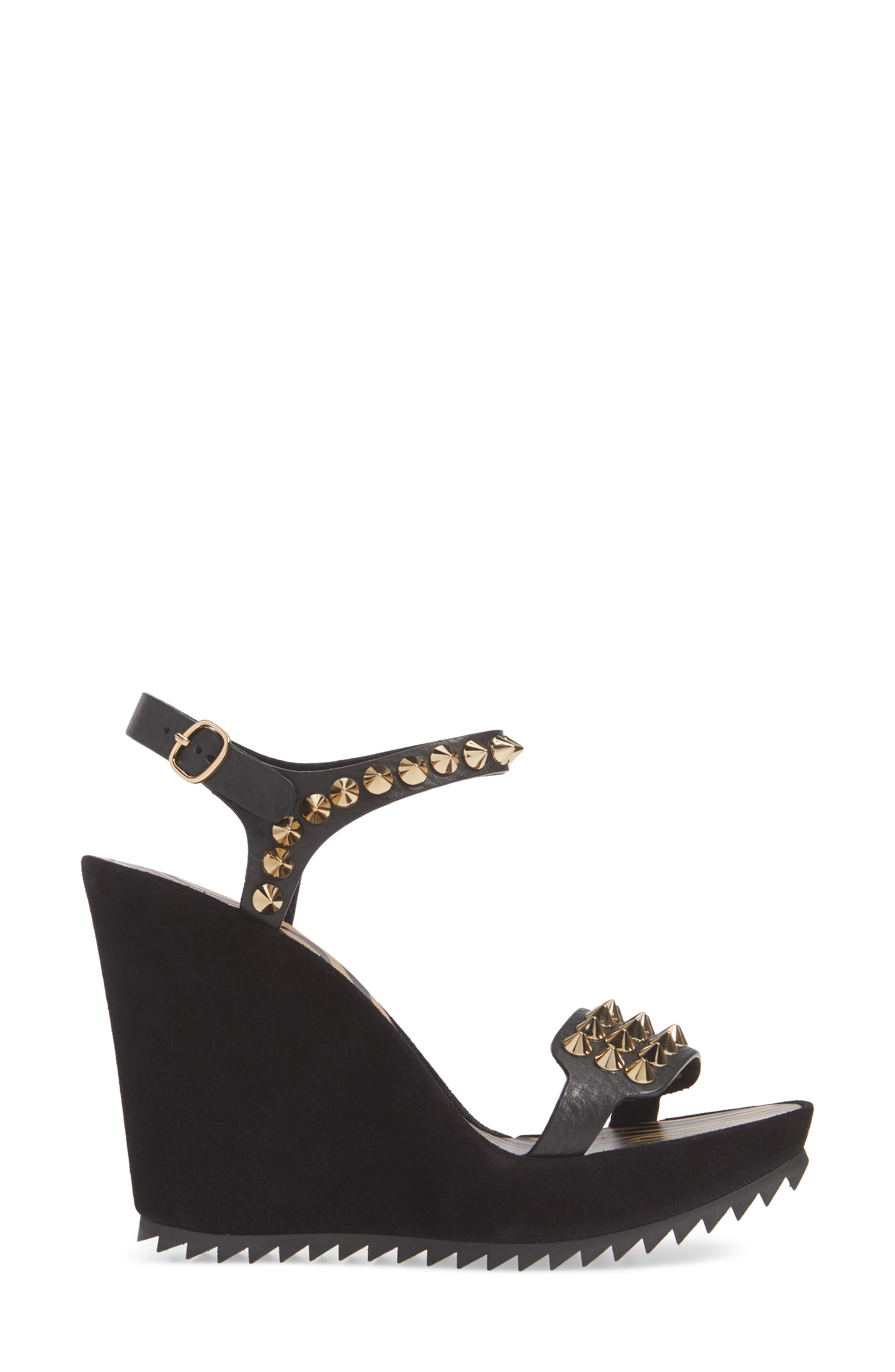 PEDRO GARCIA, Voka Studded Wedge Sandal, Alternate thumbnail 3, color, BLACK SUEDE