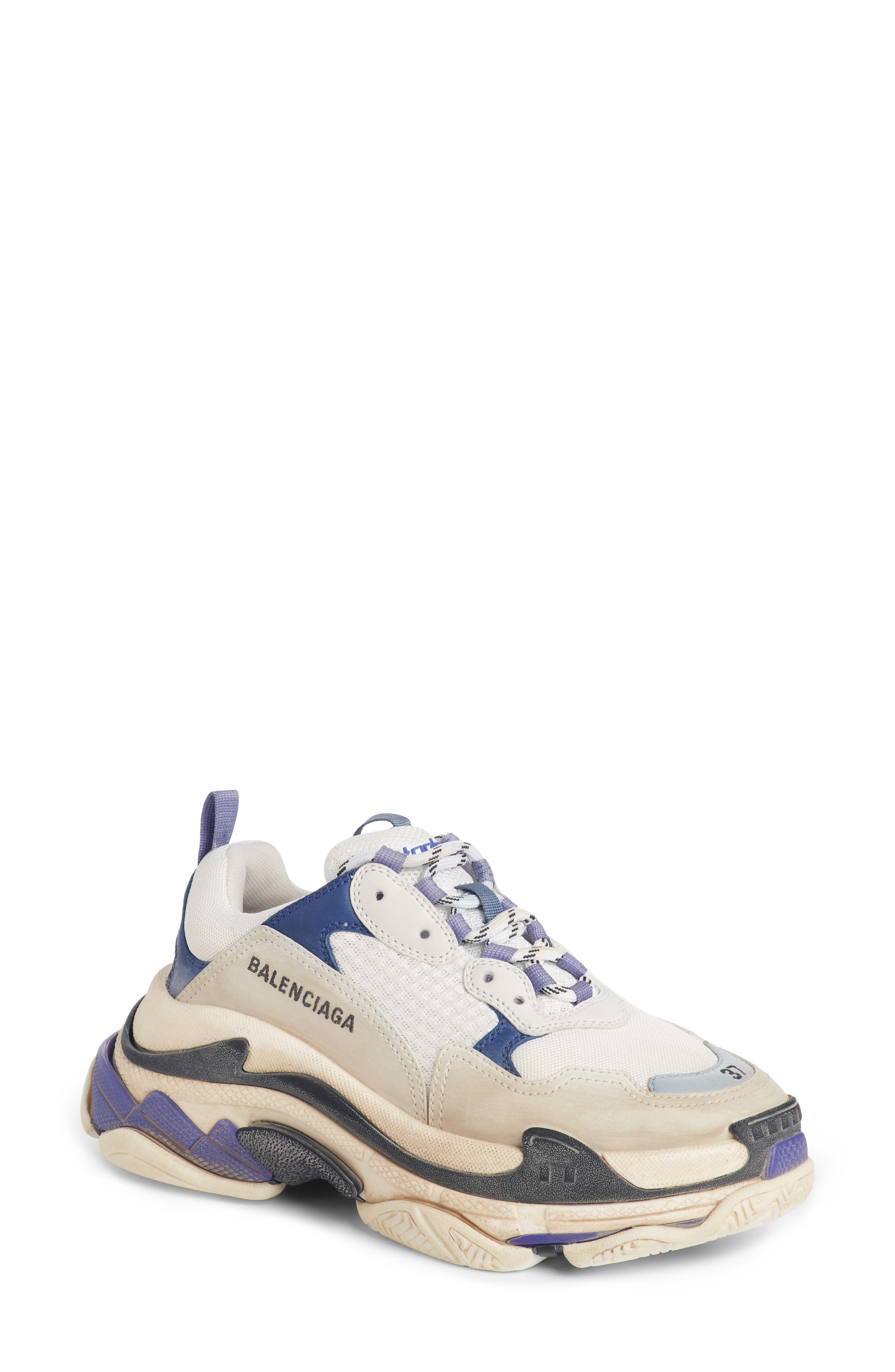 BALENCIAGA Triple S Sneaker, Main, color, VIOLET/ WHITE/ BLUE
