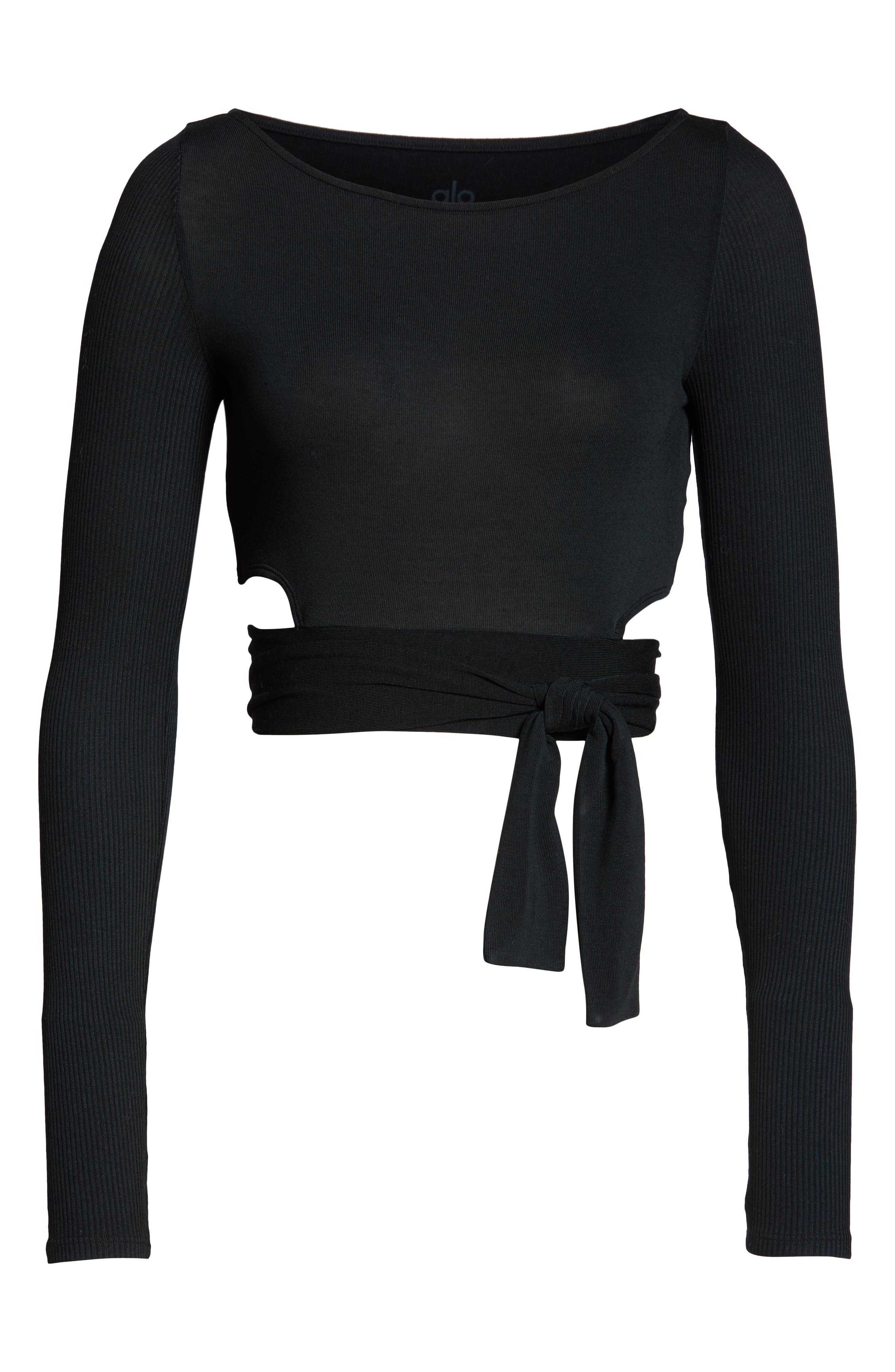 ALO, Barre Long Sleeve Top, Alternate thumbnail 7, color, BLACK