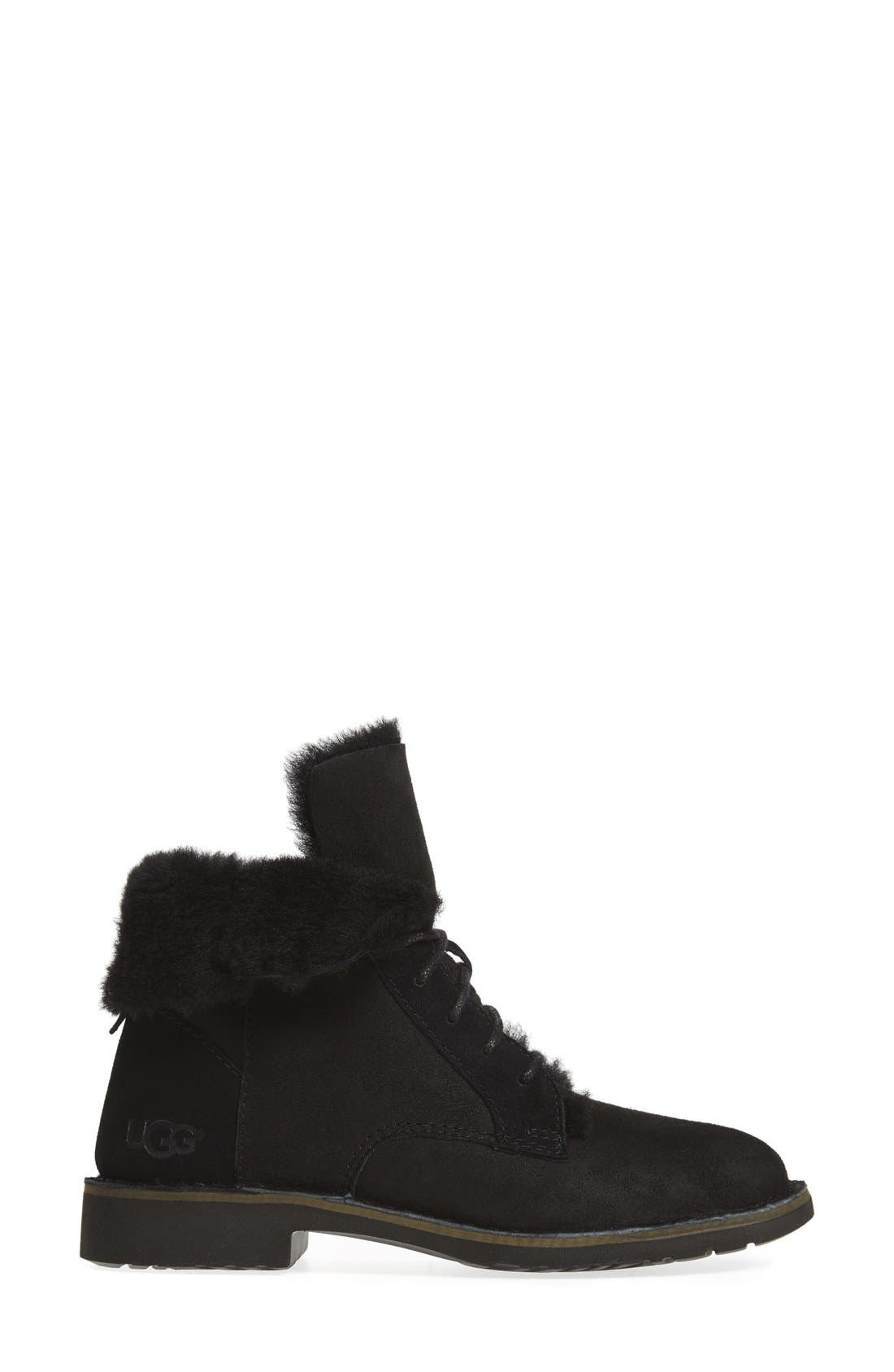 UGG<SUP>®</SUP>, Quincy Boot, Alternate thumbnail 3, color, BLACK SUEDE