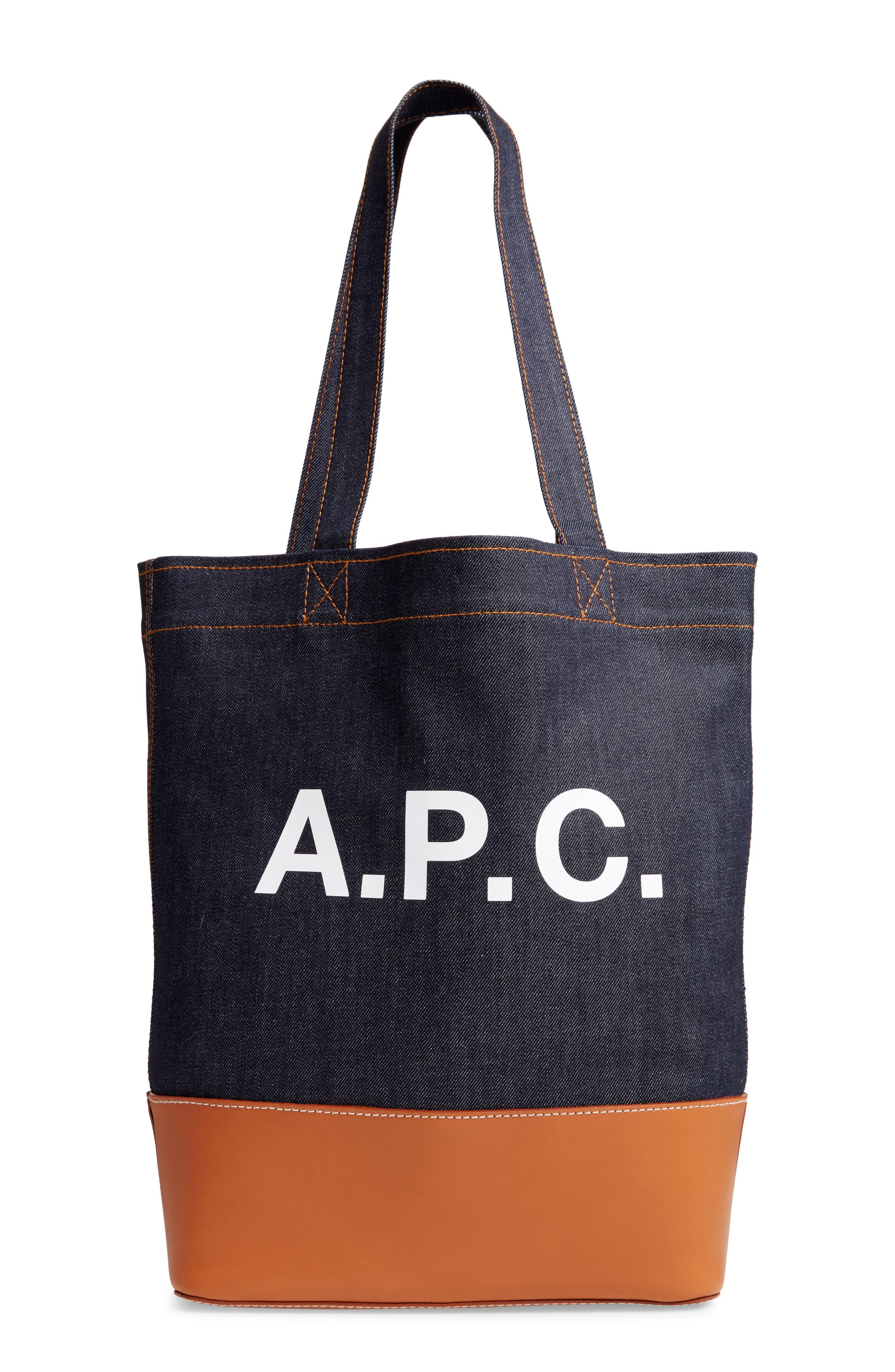A.P.C. Axelle Denim & Leather Tote, Main, color, 200