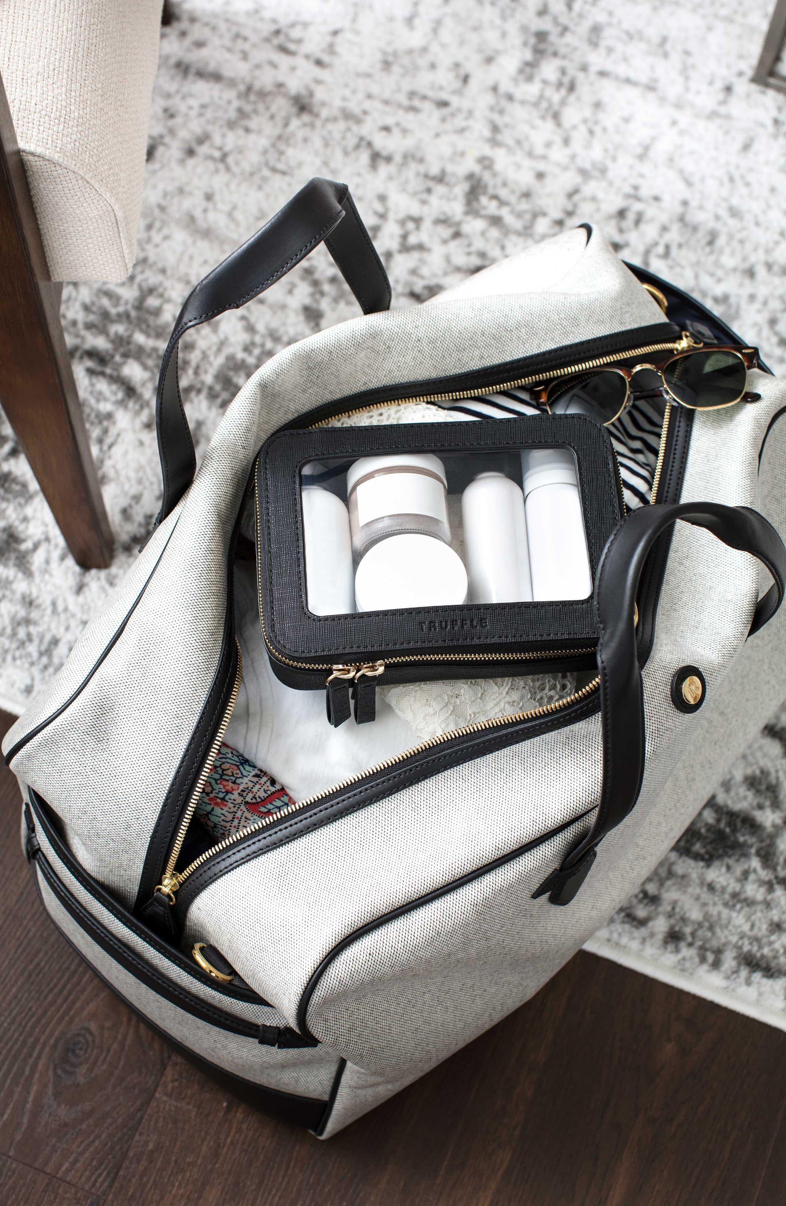 TRUFFLE, Clarity Jetset Cosmetics Case, Alternate thumbnail 6, color, BLACK