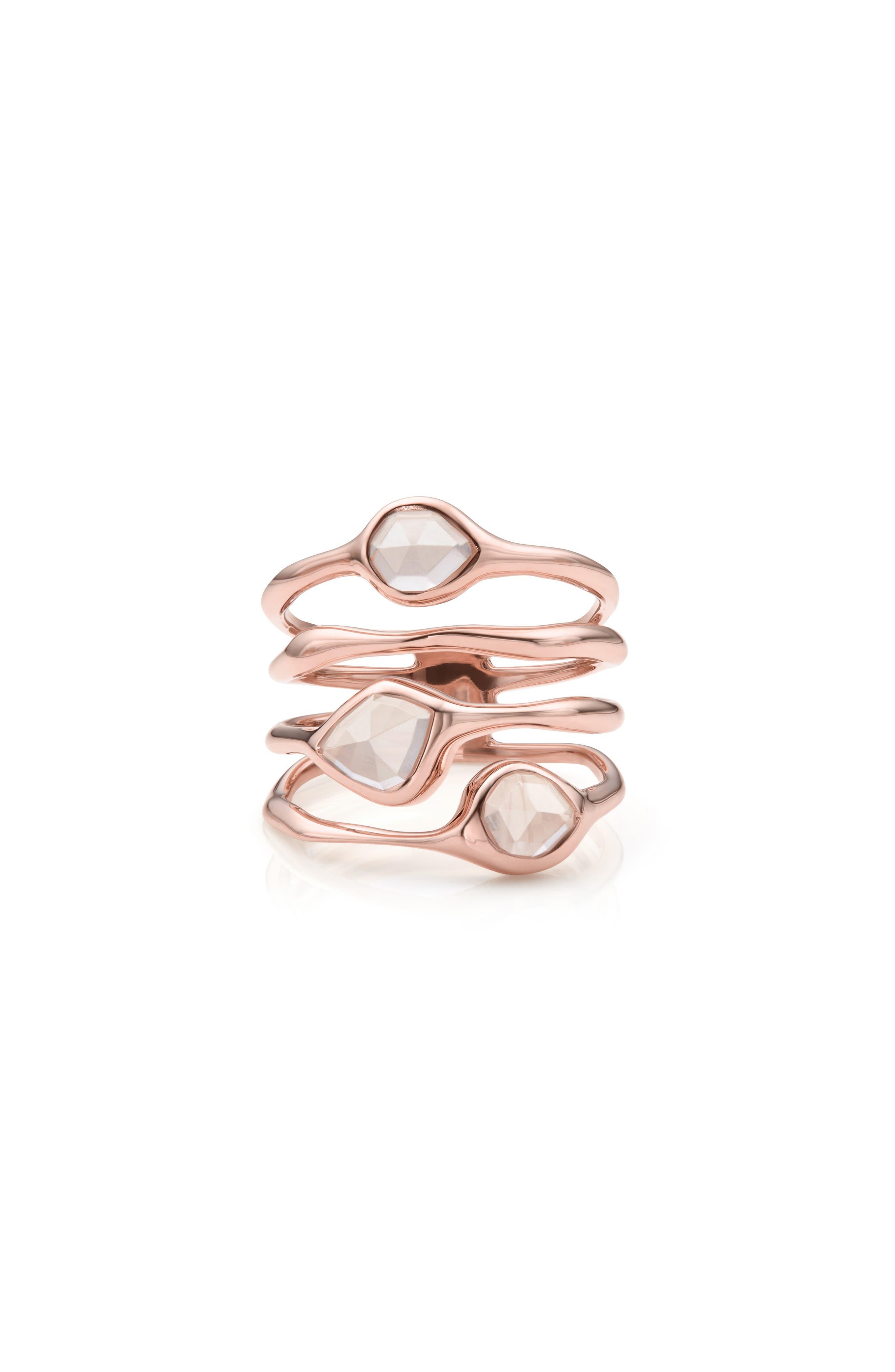 MONICA VINADER, Siren Cluster Cocktail Ring, Main thumbnail 1, color, ROSE GOLD/ ROSE QUARTZ