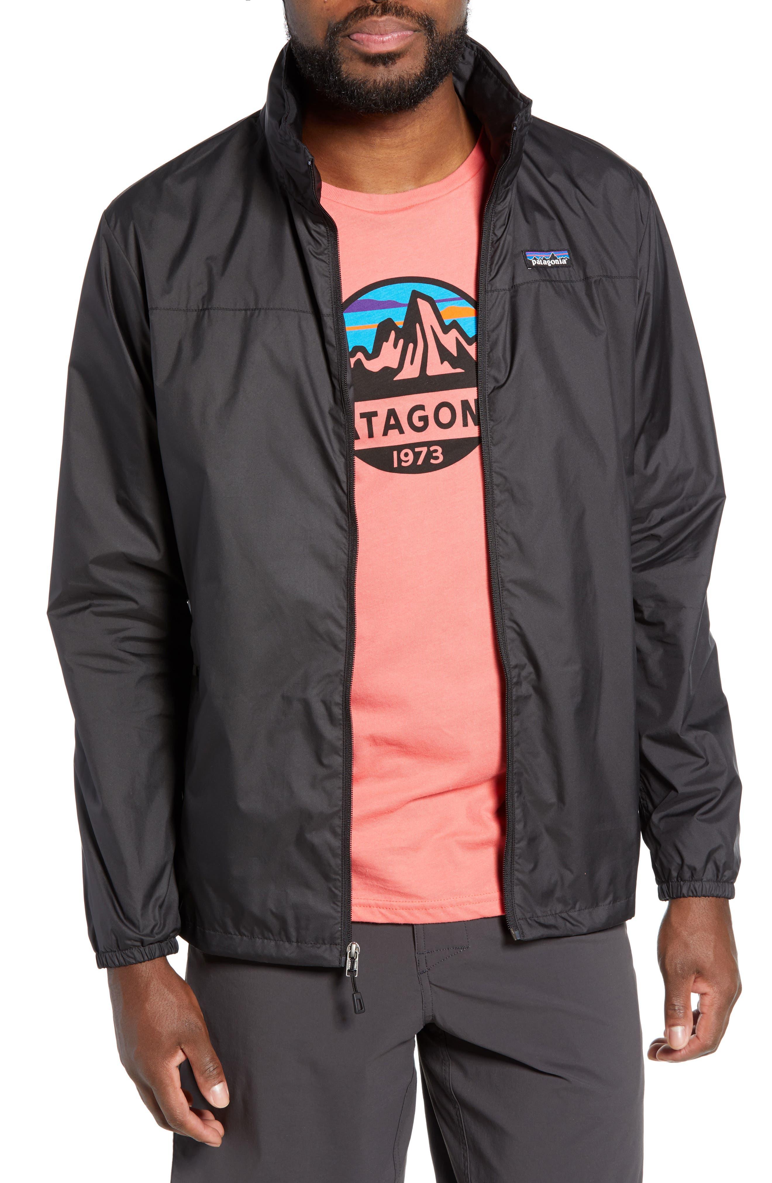 PATAGONIA Light & Variable<sup>™</sup> Wind & Water Resistant Hooded Jacket, Main, color, INK BLACK