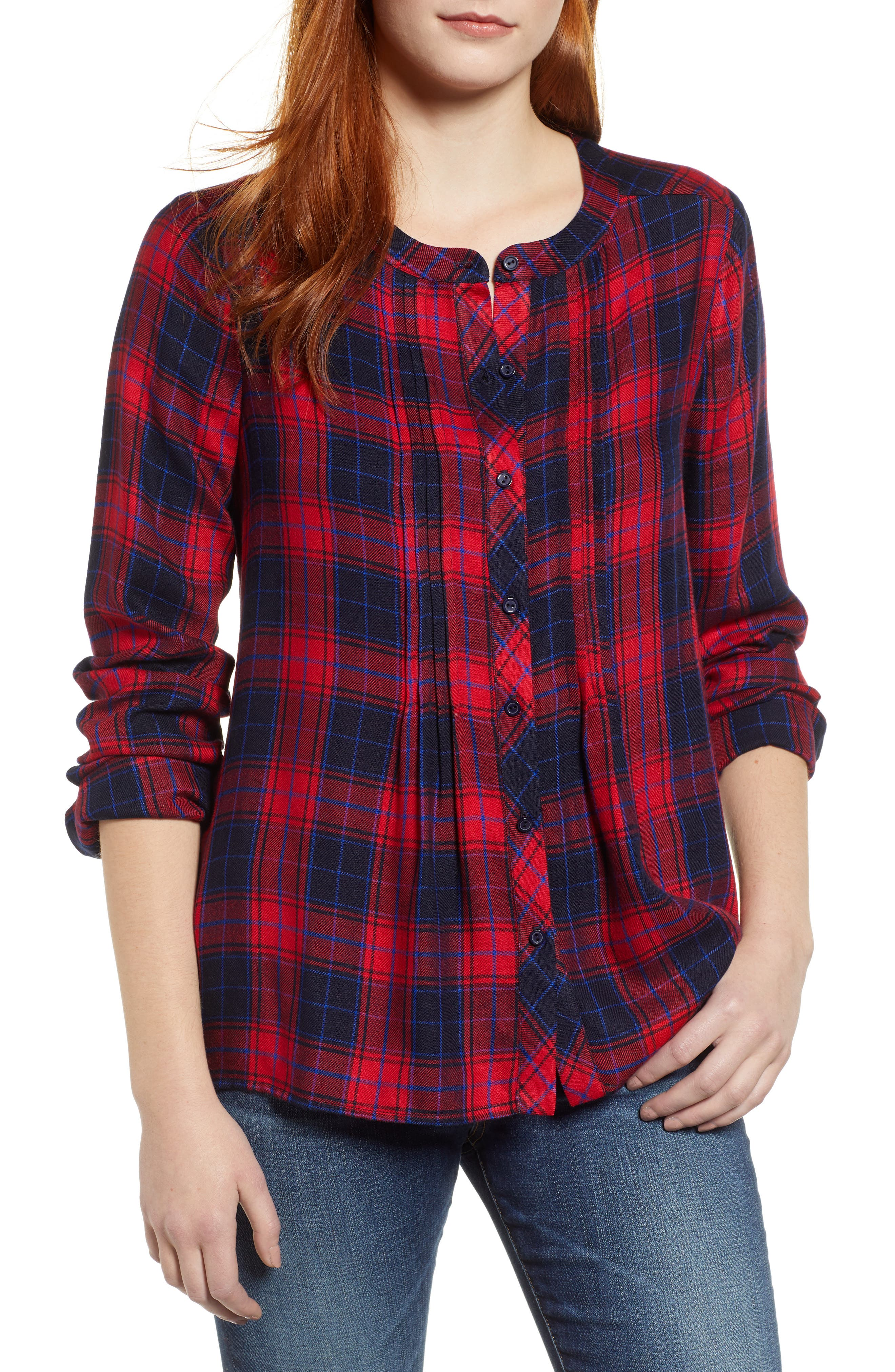 GIBSON, x Living in Yellow Ellen Brushed Check Shirt, Main thumbnail 1, color, RED / BLUE